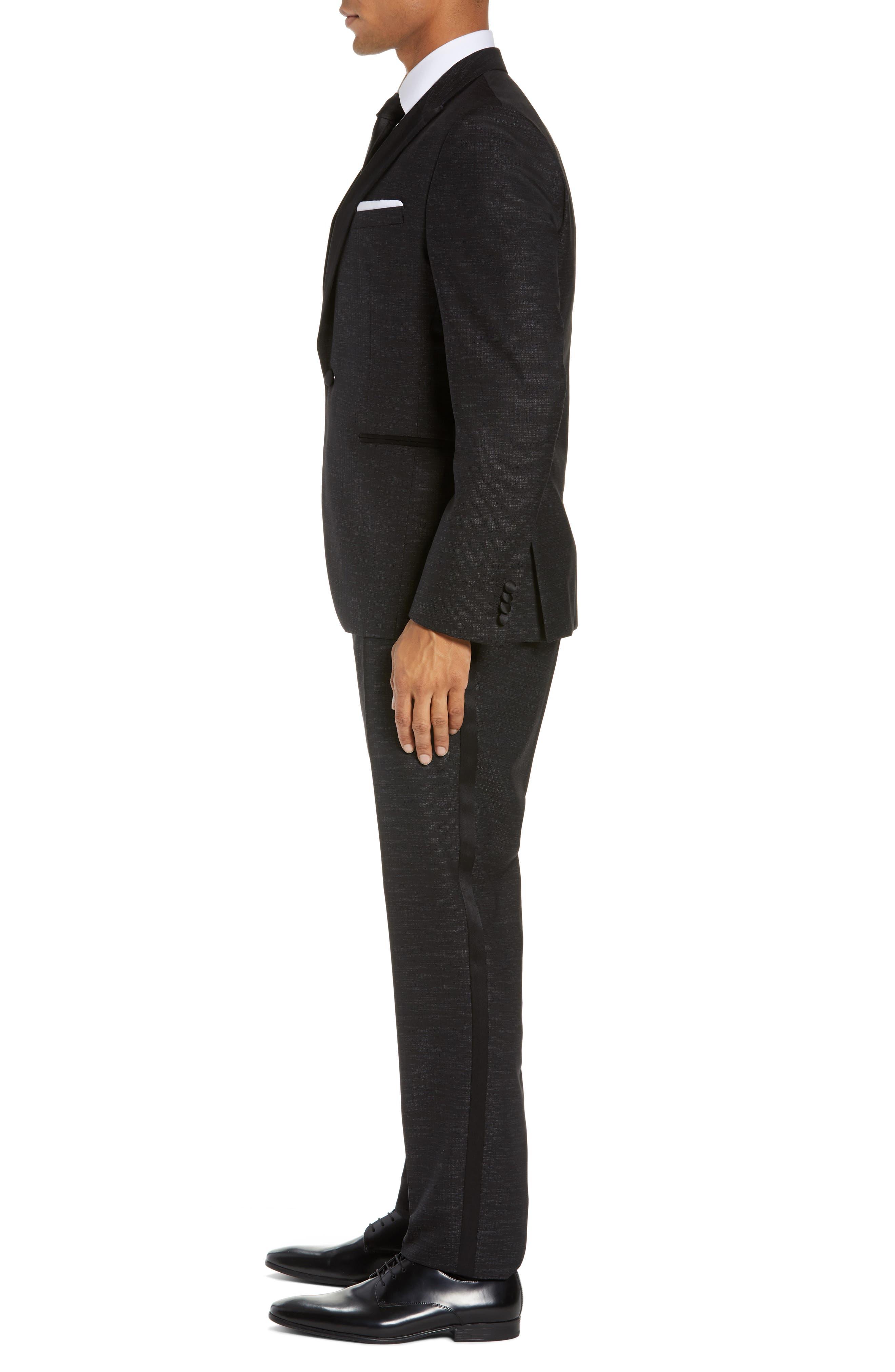 BOSS,                             Rendal/Wilden Slim Fit Three-Piece Tuxedo,                             Alternate thumbnail 3, color,                             BLACK