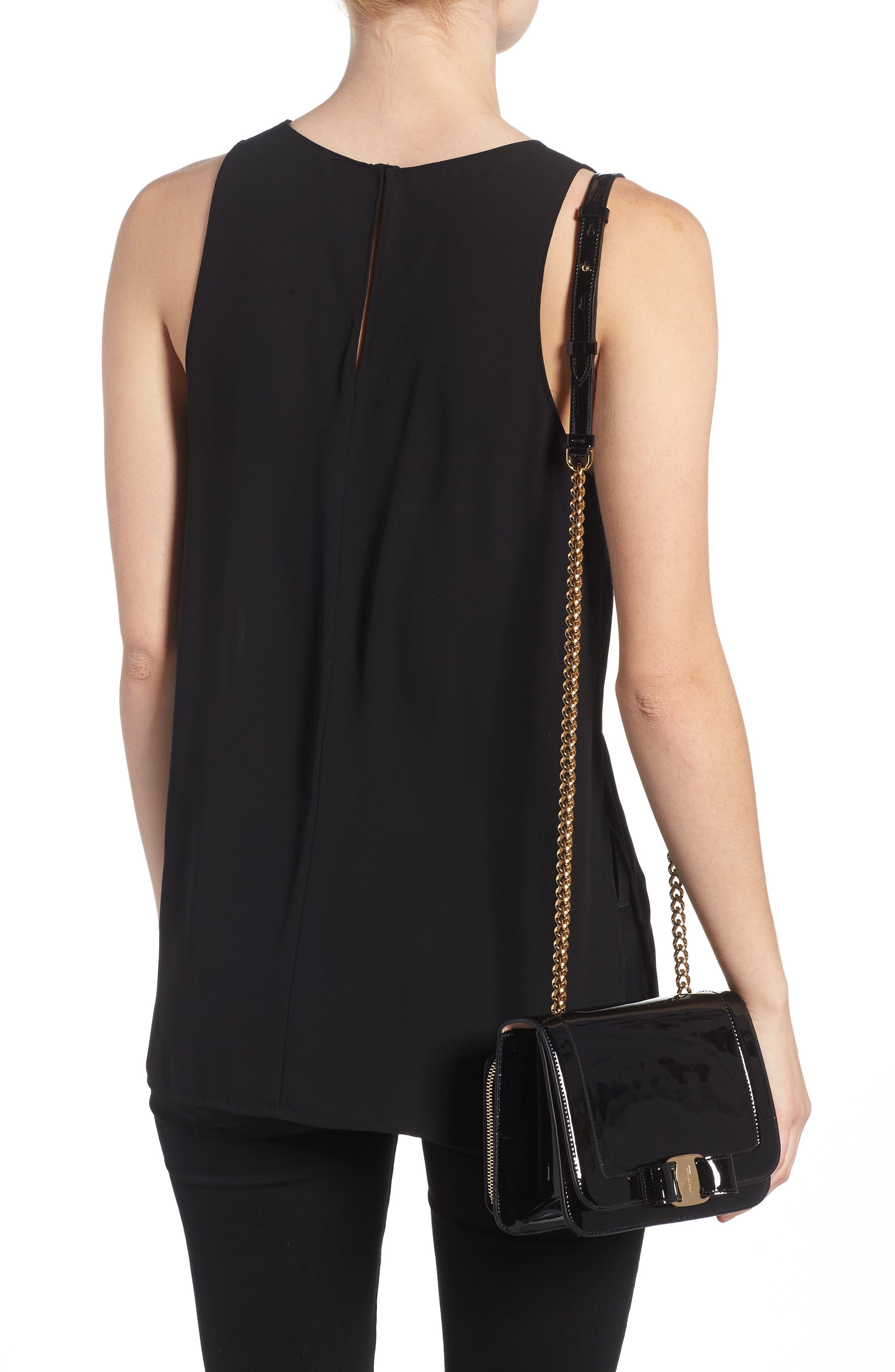 Vara Patent Leather Shoulder Bag,                             Alternate thumbnail 2, color,                             NERO/ BONBON