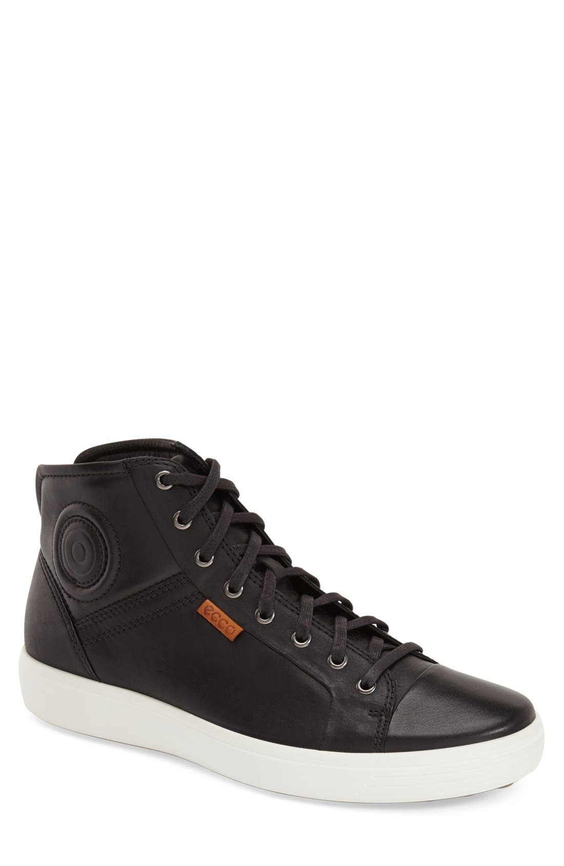 'Soft 7' High Top Sneaker,                             Main thumbnail 1, color,                             BLACK LEATHER