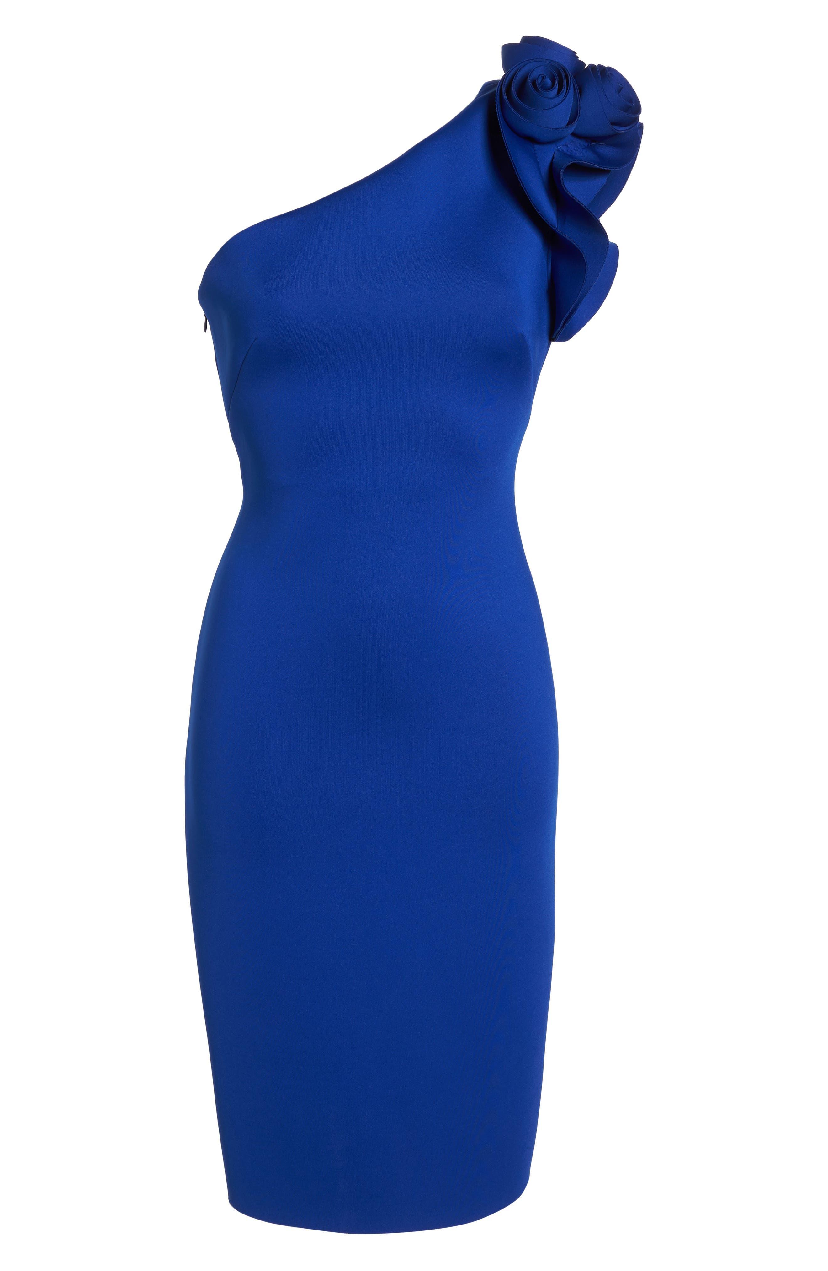 One-Shoulder Sheath Dress,                             Alternate thumbnail 6, color,                             COBALT