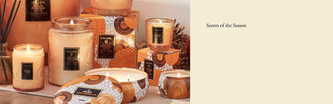 Voluspa spiced pumpkin latte jar candles and tin candles.