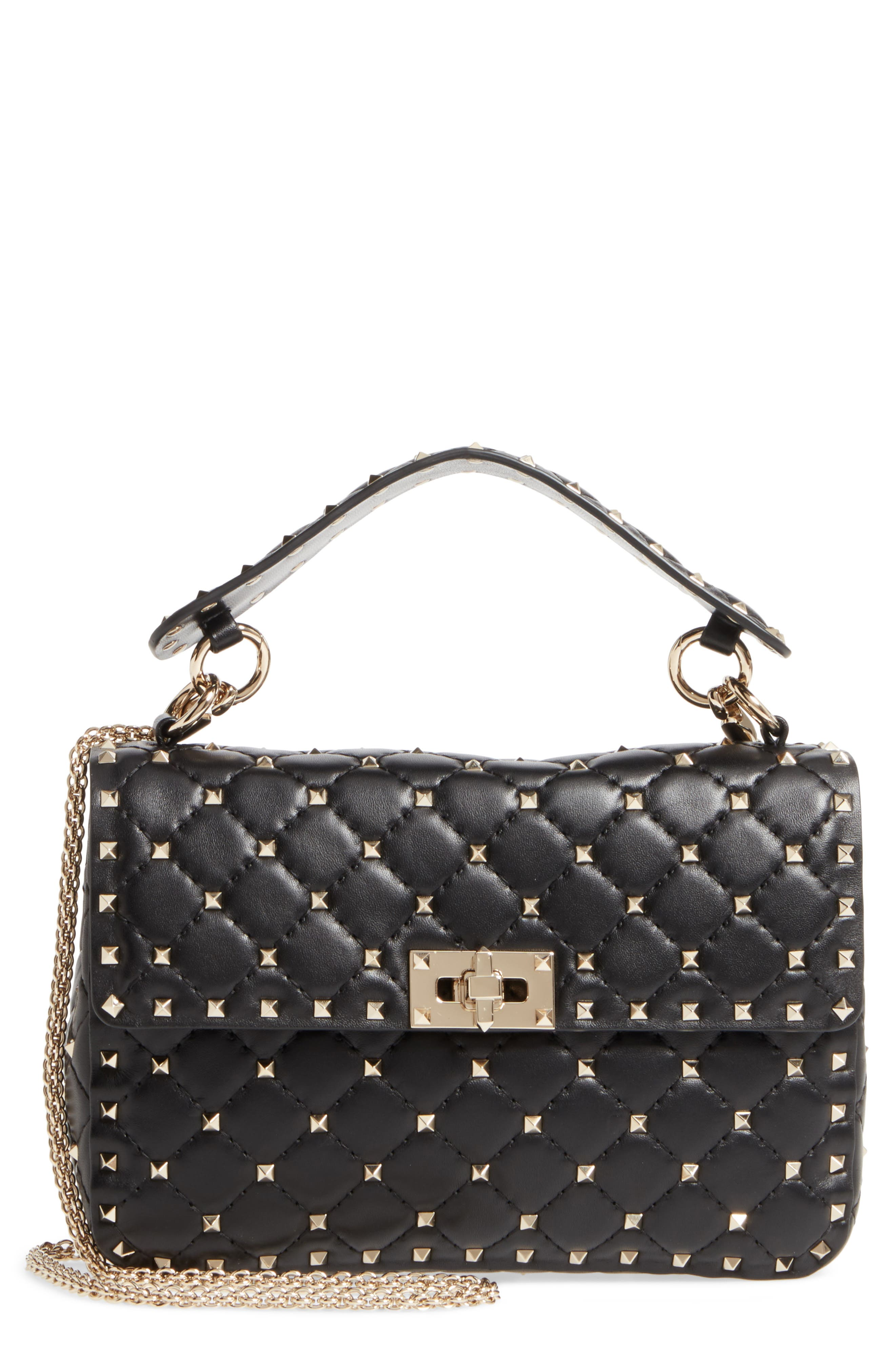 Medium Rockstud Matelassé Quilted Leather Shoulder Bag,                             Main thumbnail 1, color,                             BLACK