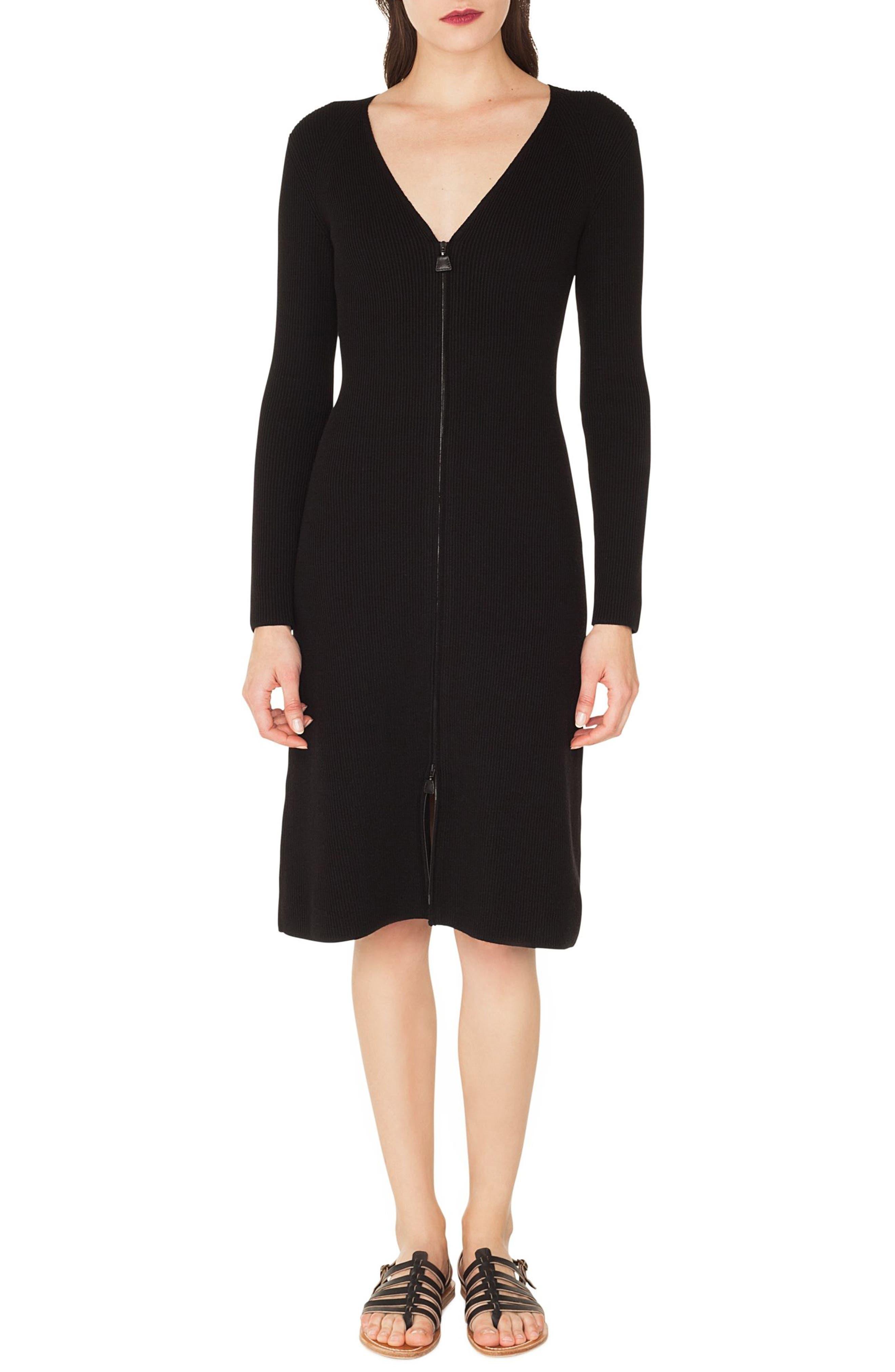 Rib Knit Stretch Wool & Silk Dress,                             Main thumbnail 1, color,                             BLACK