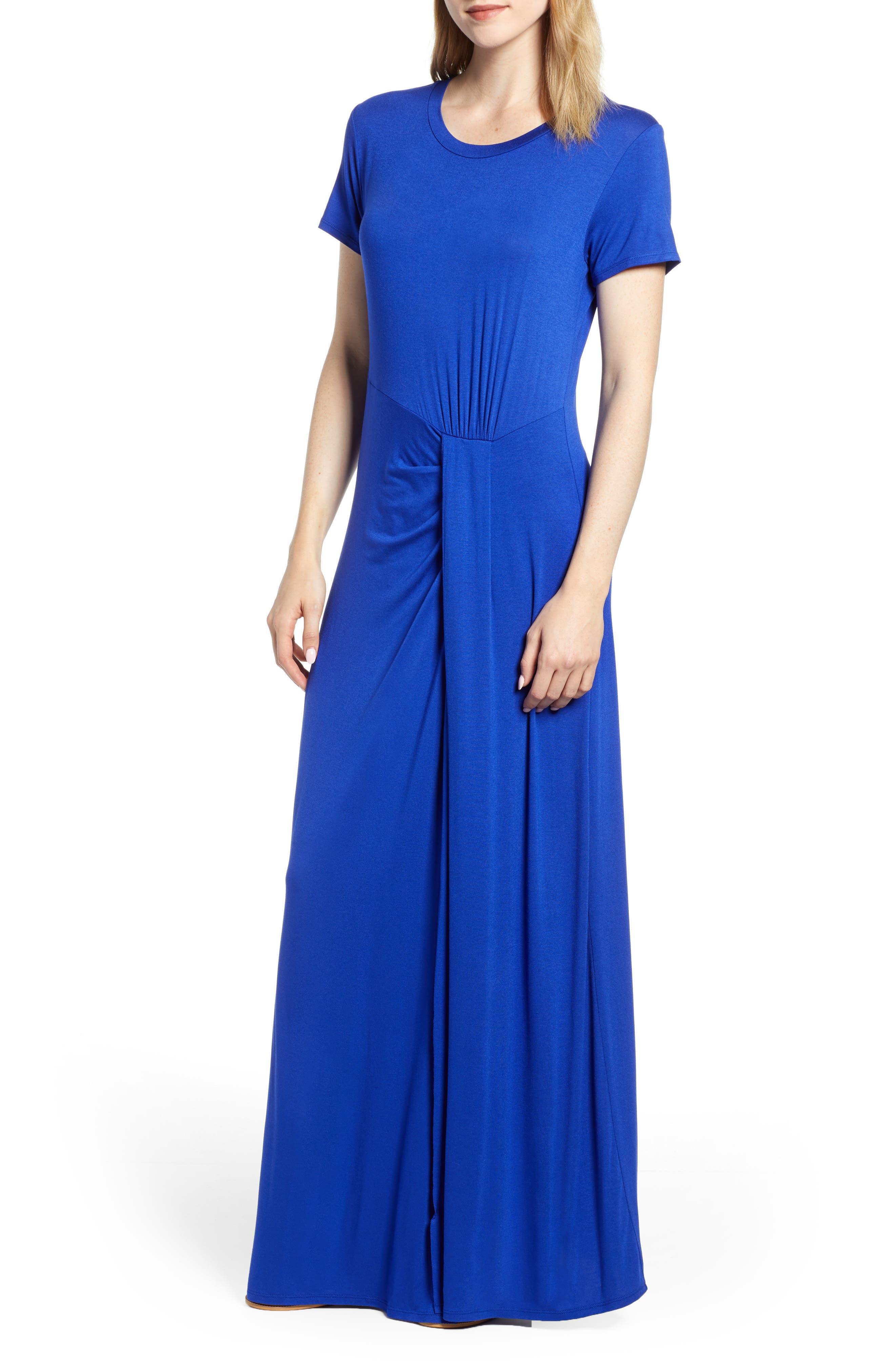 Caslon Front Gathered Maxi Dress, Blue