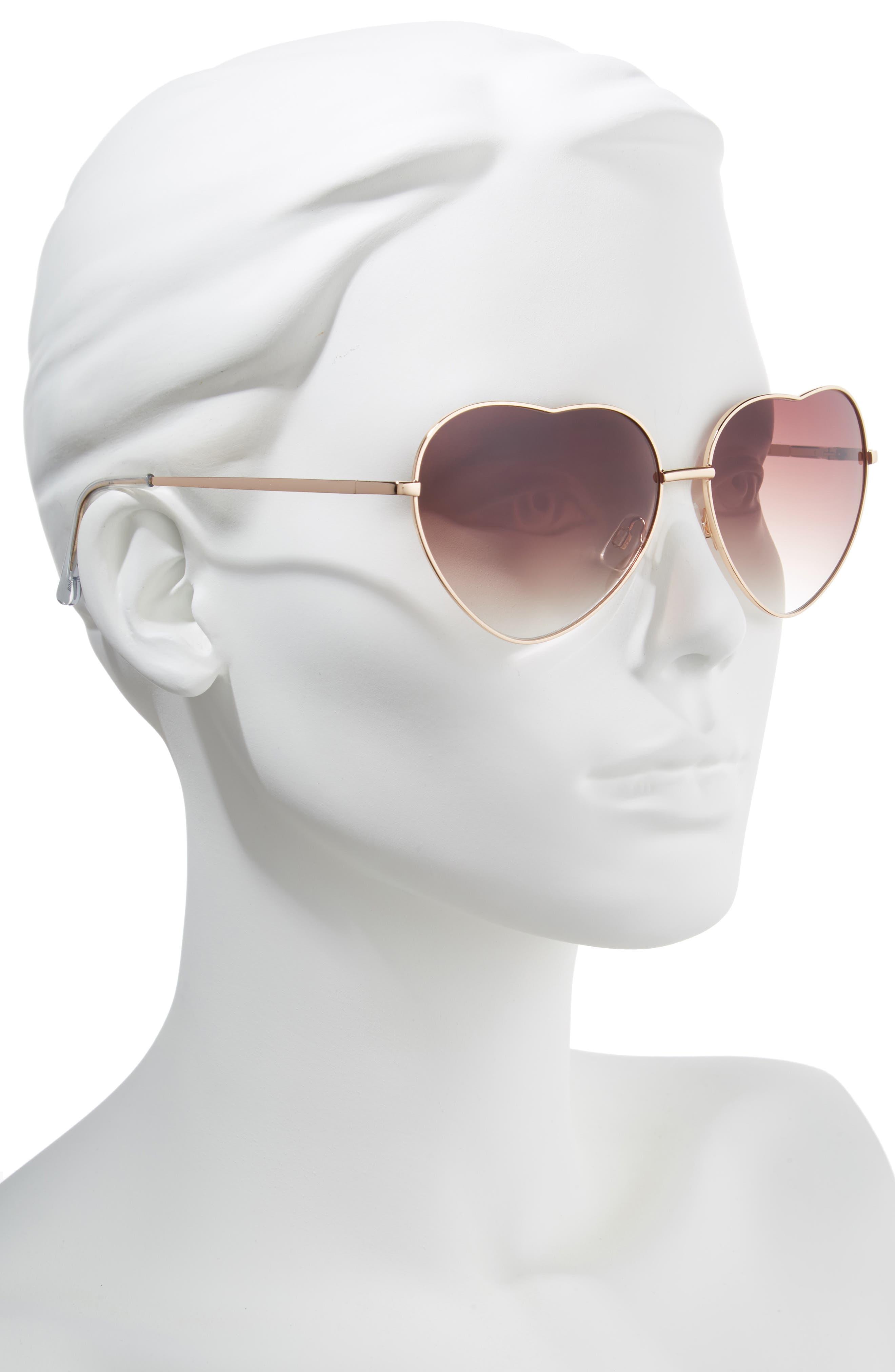 60mm Metal Heart Sunglasses,                             Alternate thumbnail 5, color,