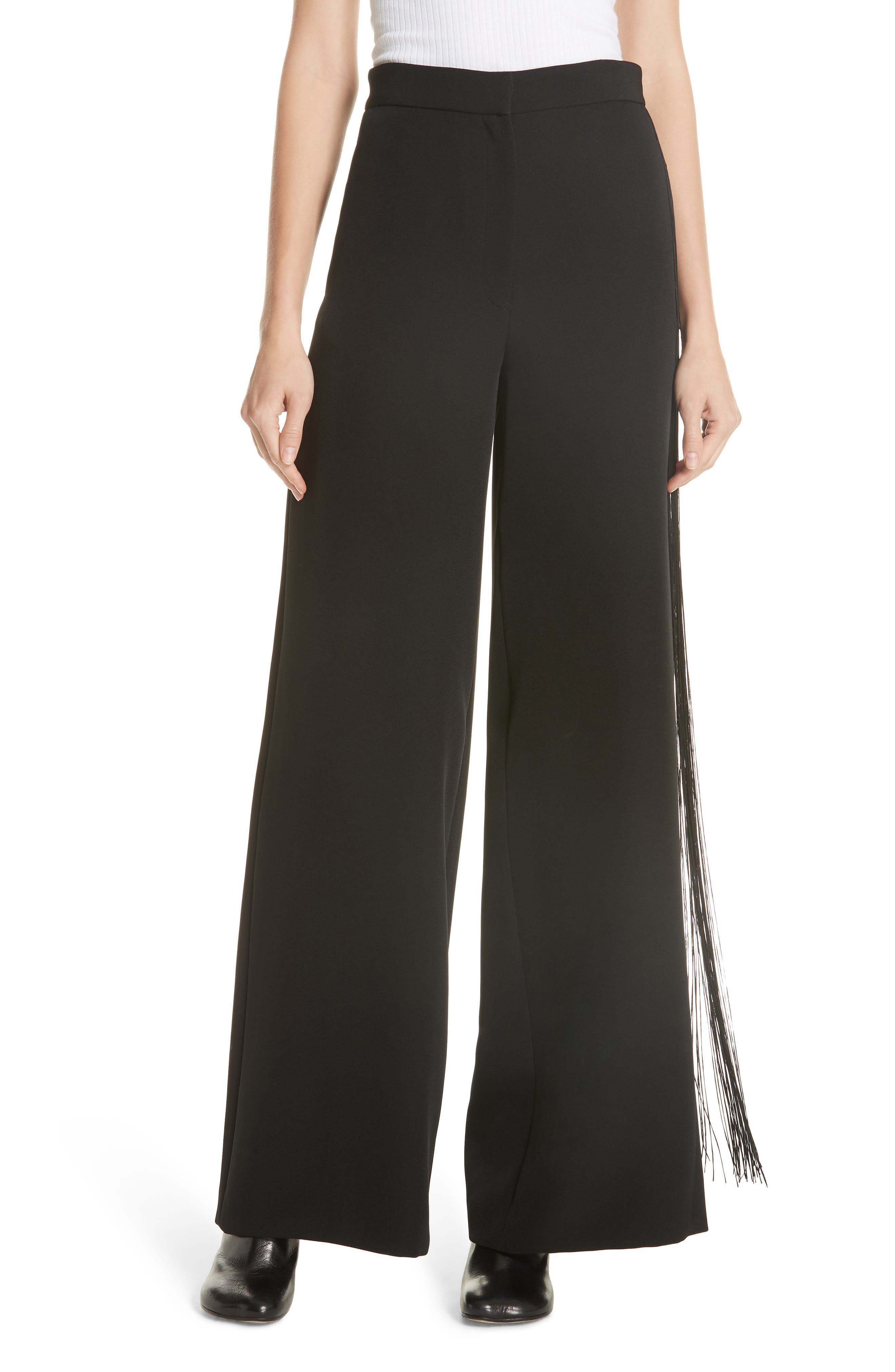 Fringe Detail Pants in Black