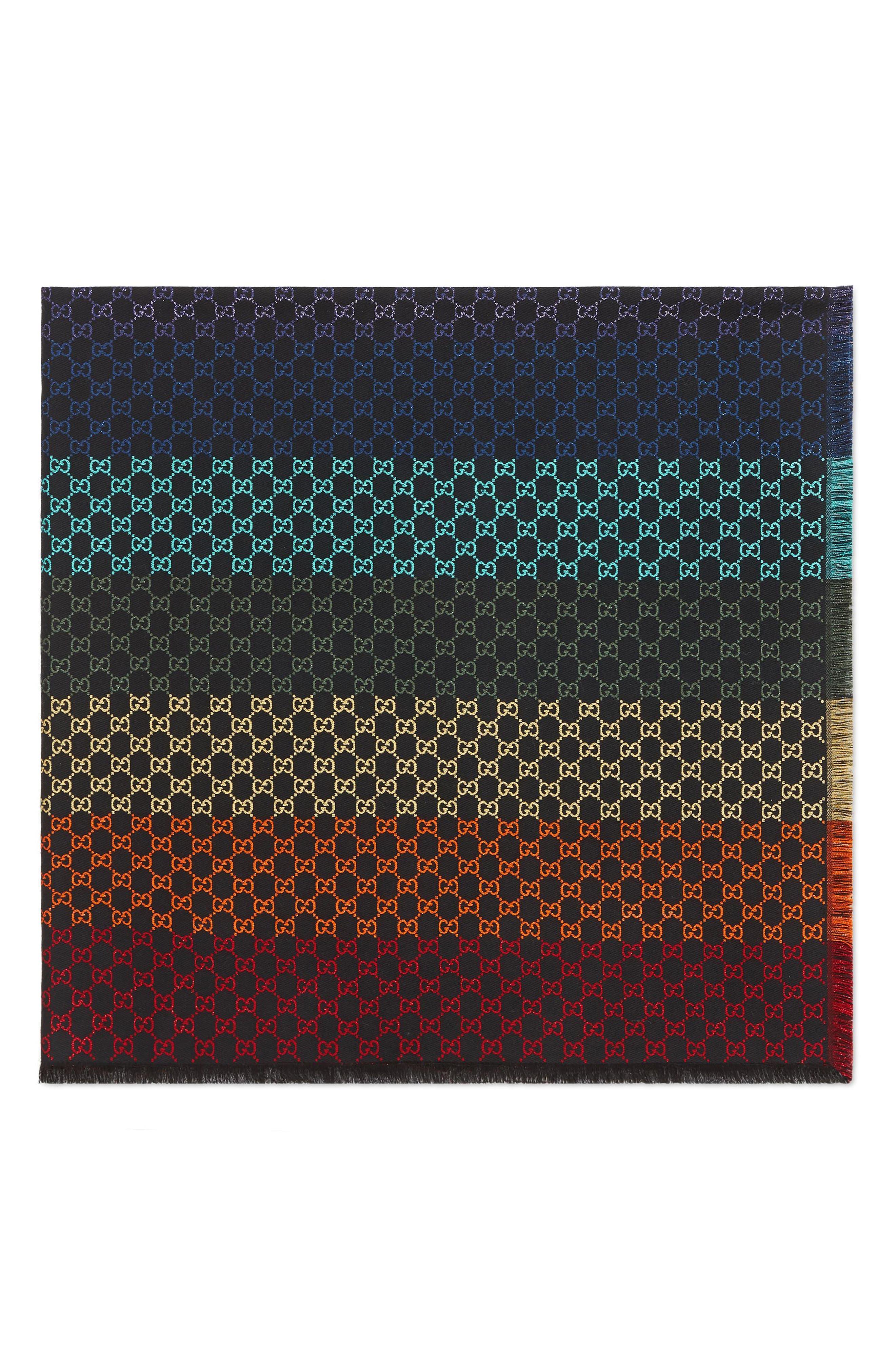 Summer Metallic Jacquard Shawl,                             Alternate thumbnail 2, color,                             BLACK/ MULTICOLOR