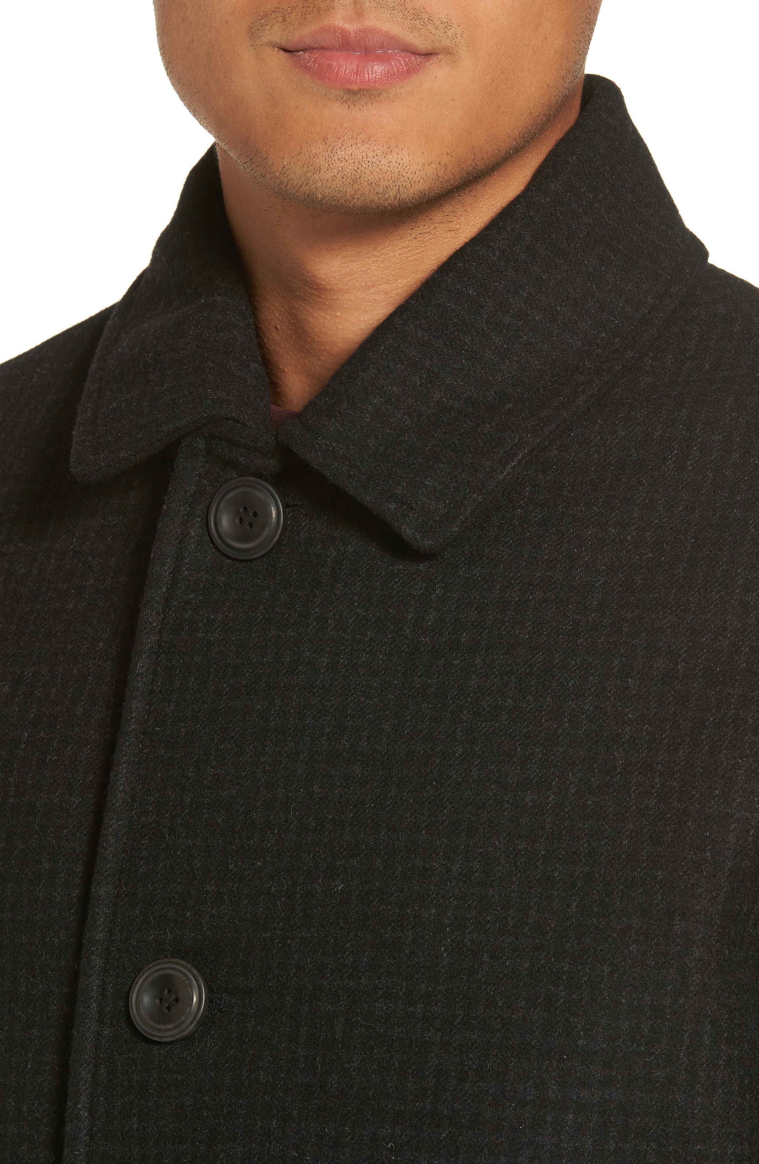 Wool Blend Car Coat,                             Alternate thumbnail 4, color,                             001