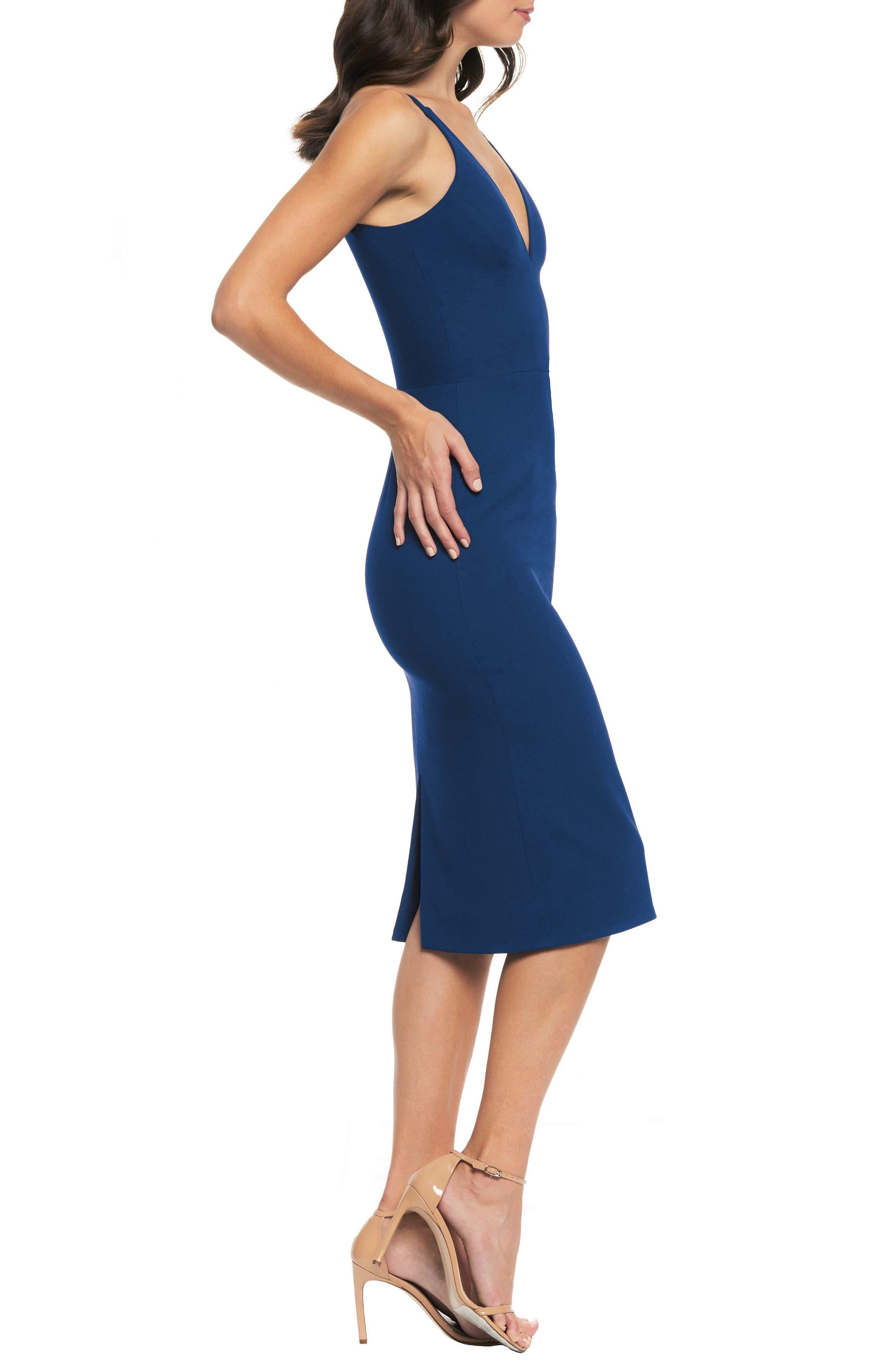 Lyla Crepe Sheath Dress,                             Alternate thumbnail 3, color,                             PACIFIC