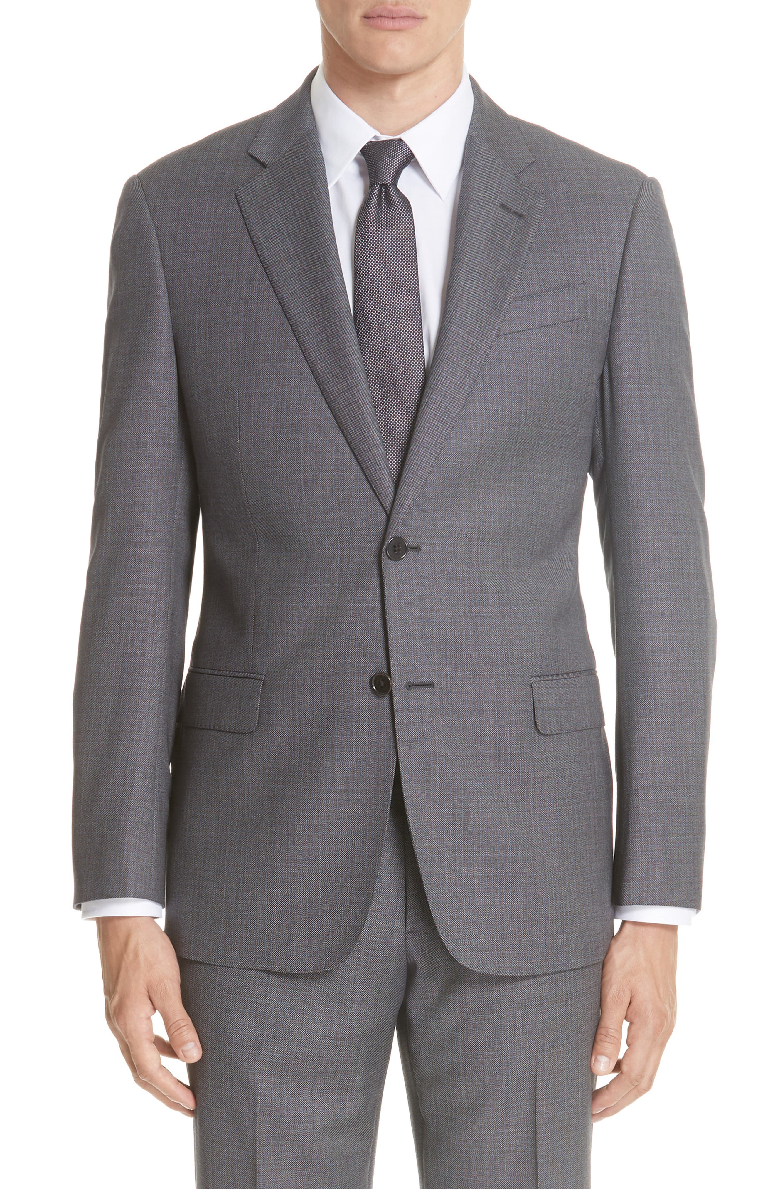 G-Line Trim Fit Bird's Eye Wool Suit,                             Alternate thumbnail 5, color,                             GREY/ LIGHT BLUE
