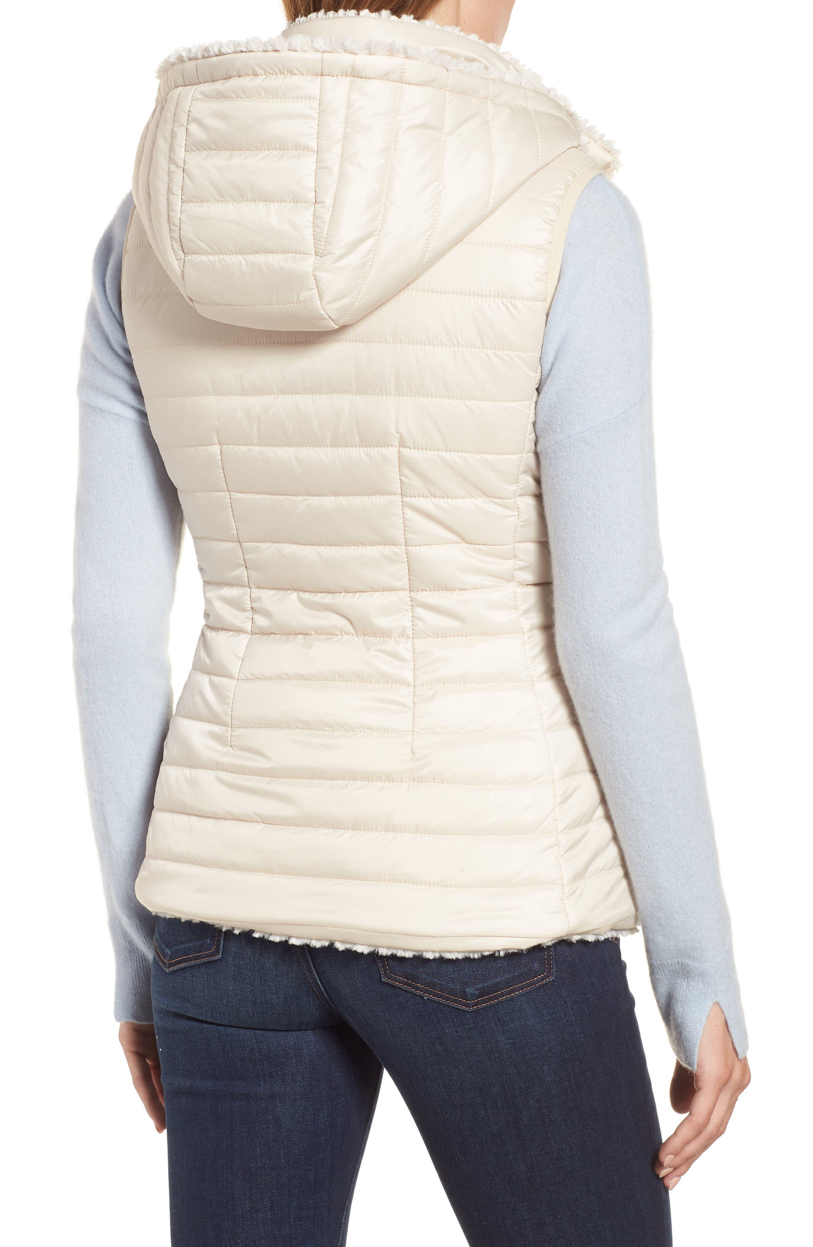 Faux Fur Reversible Hooded Vest,                             Alternate thumbnail 3, color,                             CUSTARD