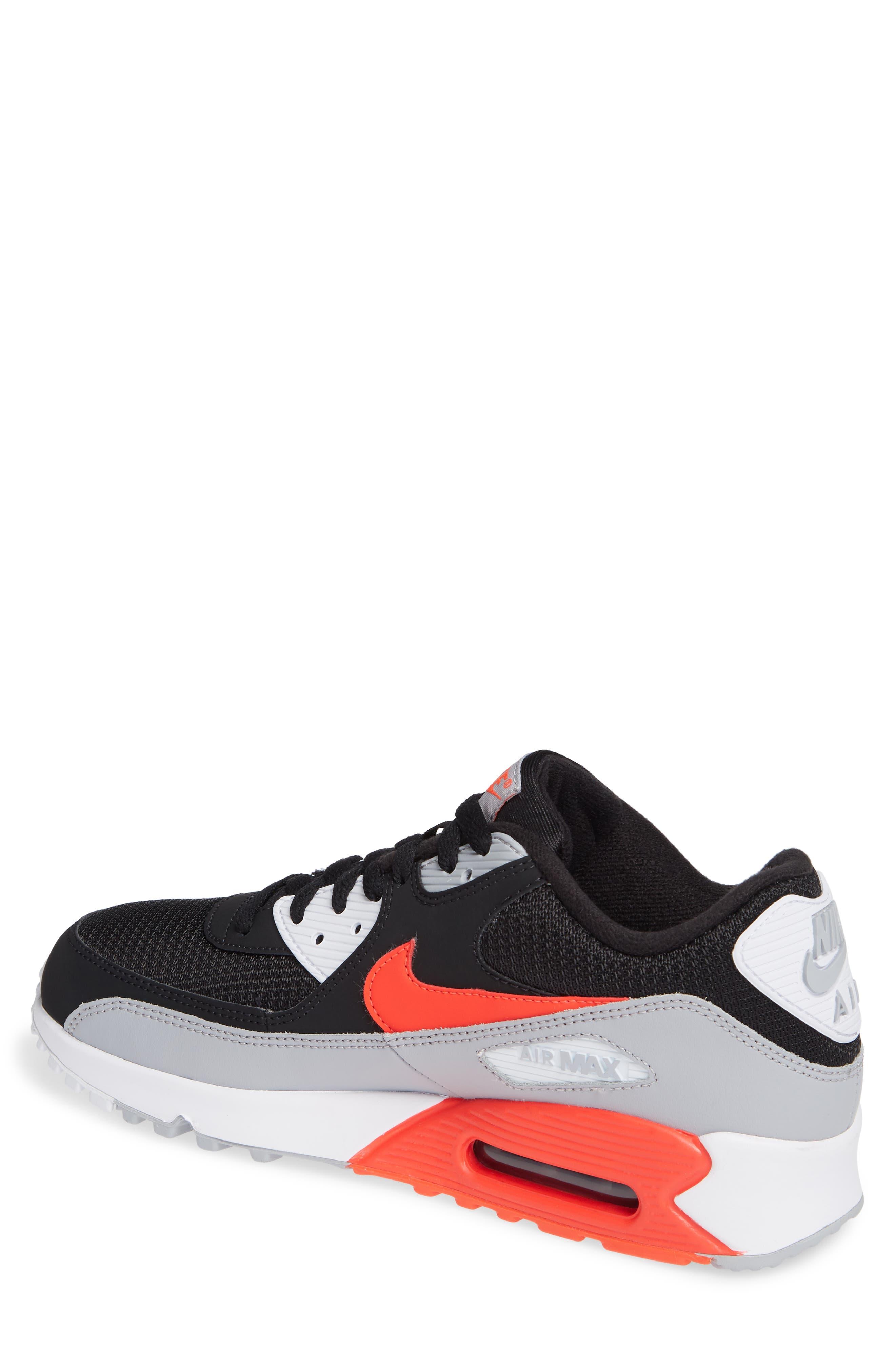 Air Max 90 Essential Sneaker,                             Alternate thumbnail 2, color,                             WOLF GREY/ CRIMSON/ BLACK