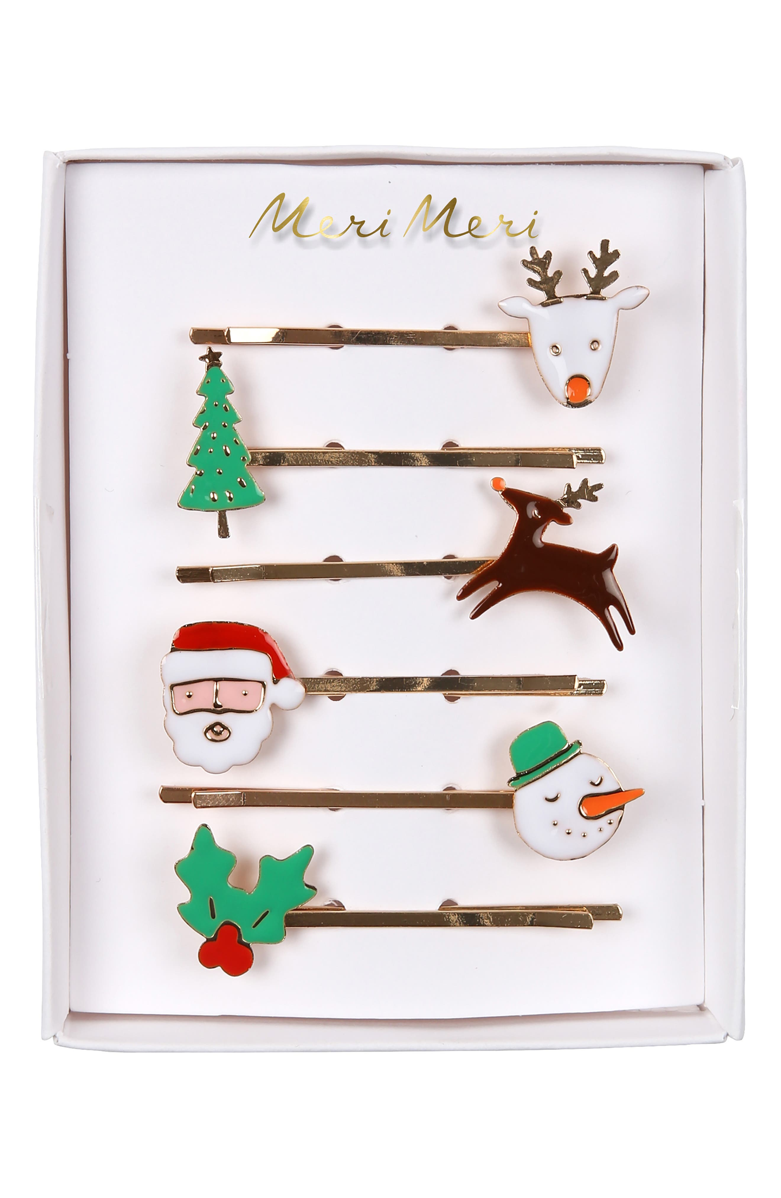 6-Pack Christmas Character Bobby Pins,                             Main thumbnail 1, color,                             ASSORTED COLORS