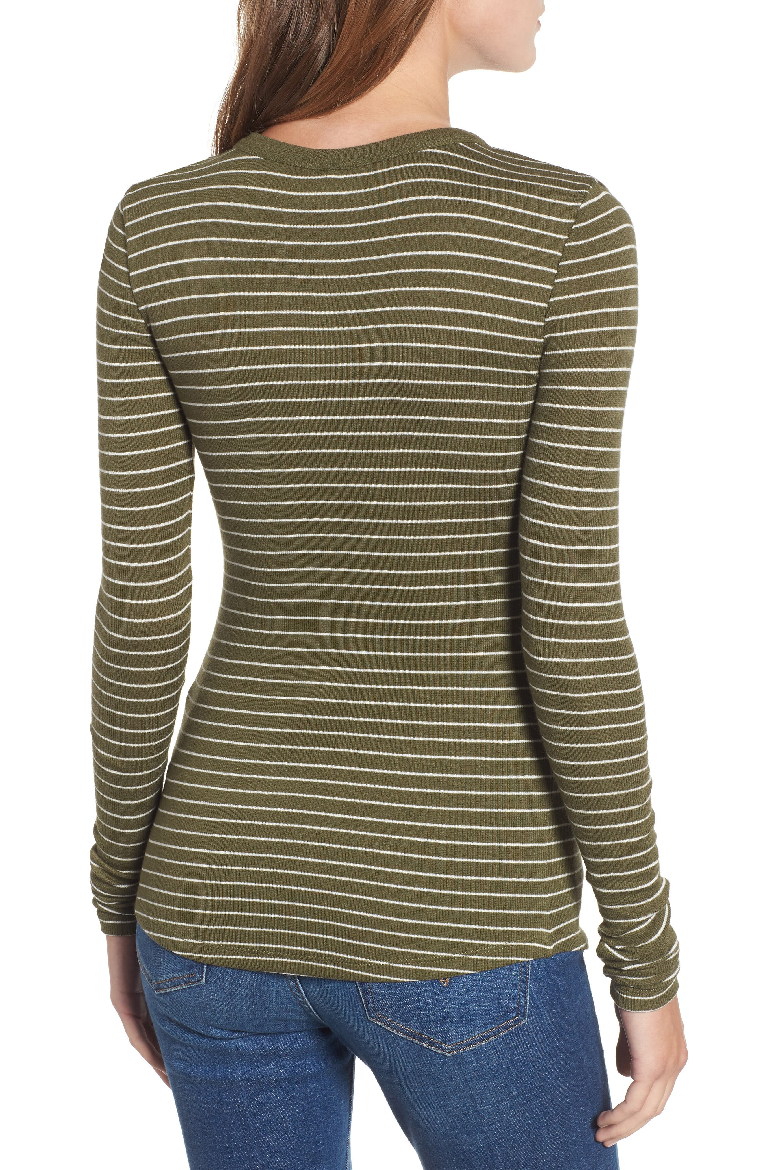 Ribbed Long Sleeve Tee,                             Alternate thumbnail 2, color,                             OLIVE BURNT TARYN STRIPE