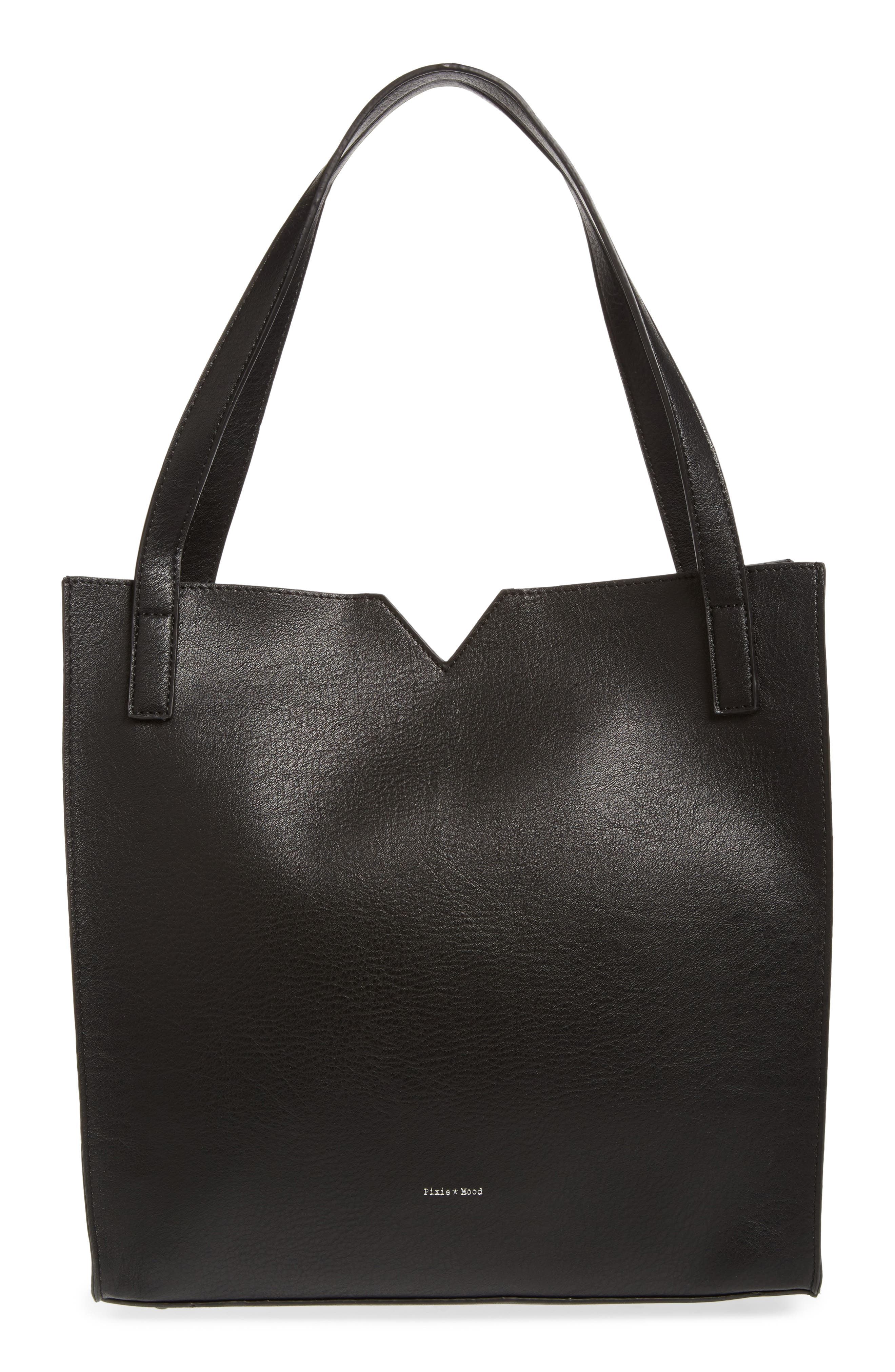 Alicia Faux Leather Tote Bag & Pouch Set, Main, color, 001