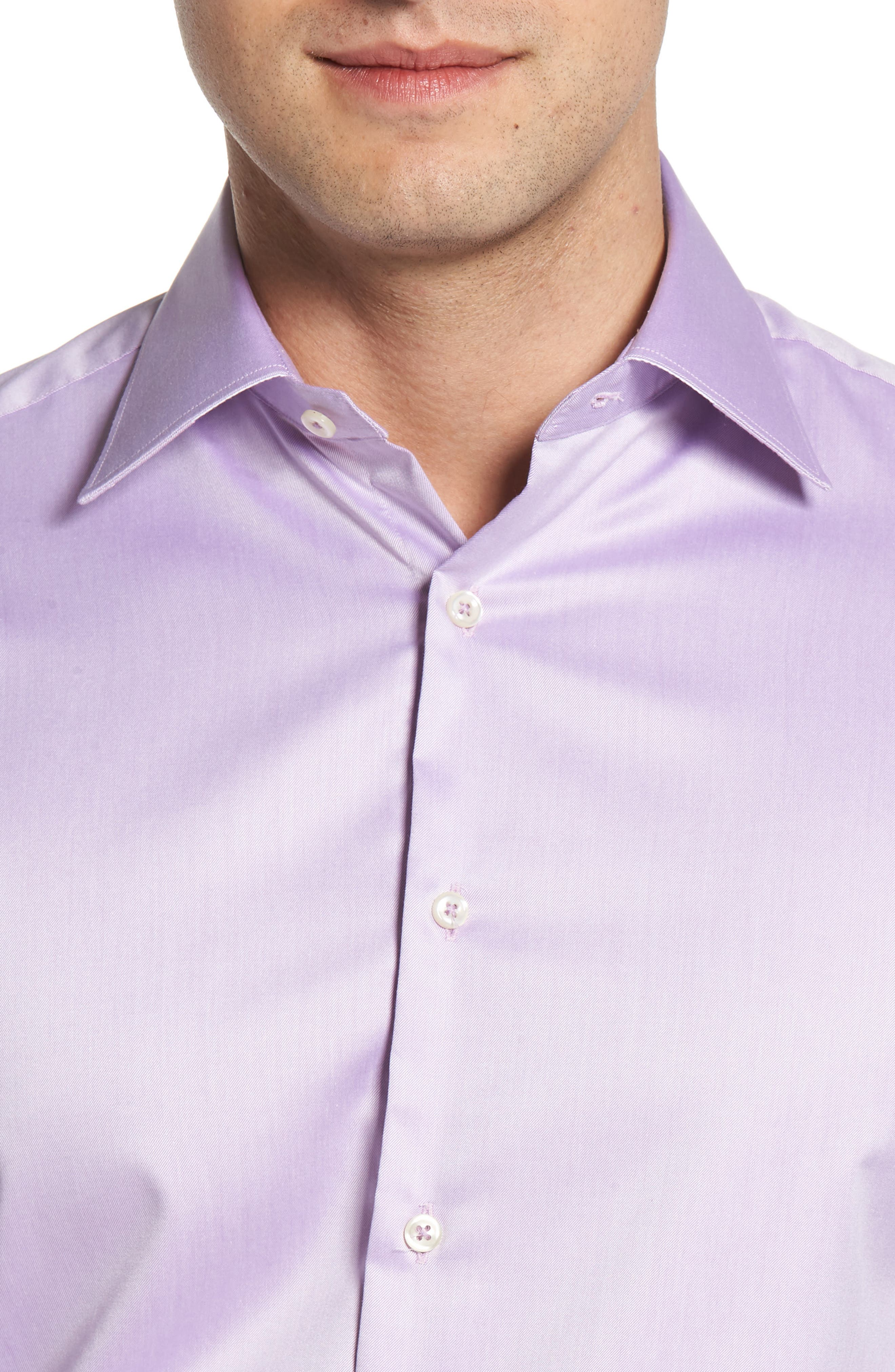Regular Fit Solid Dress Shirt,                             Alternate thumbnail 2, color,                             PURPLE
