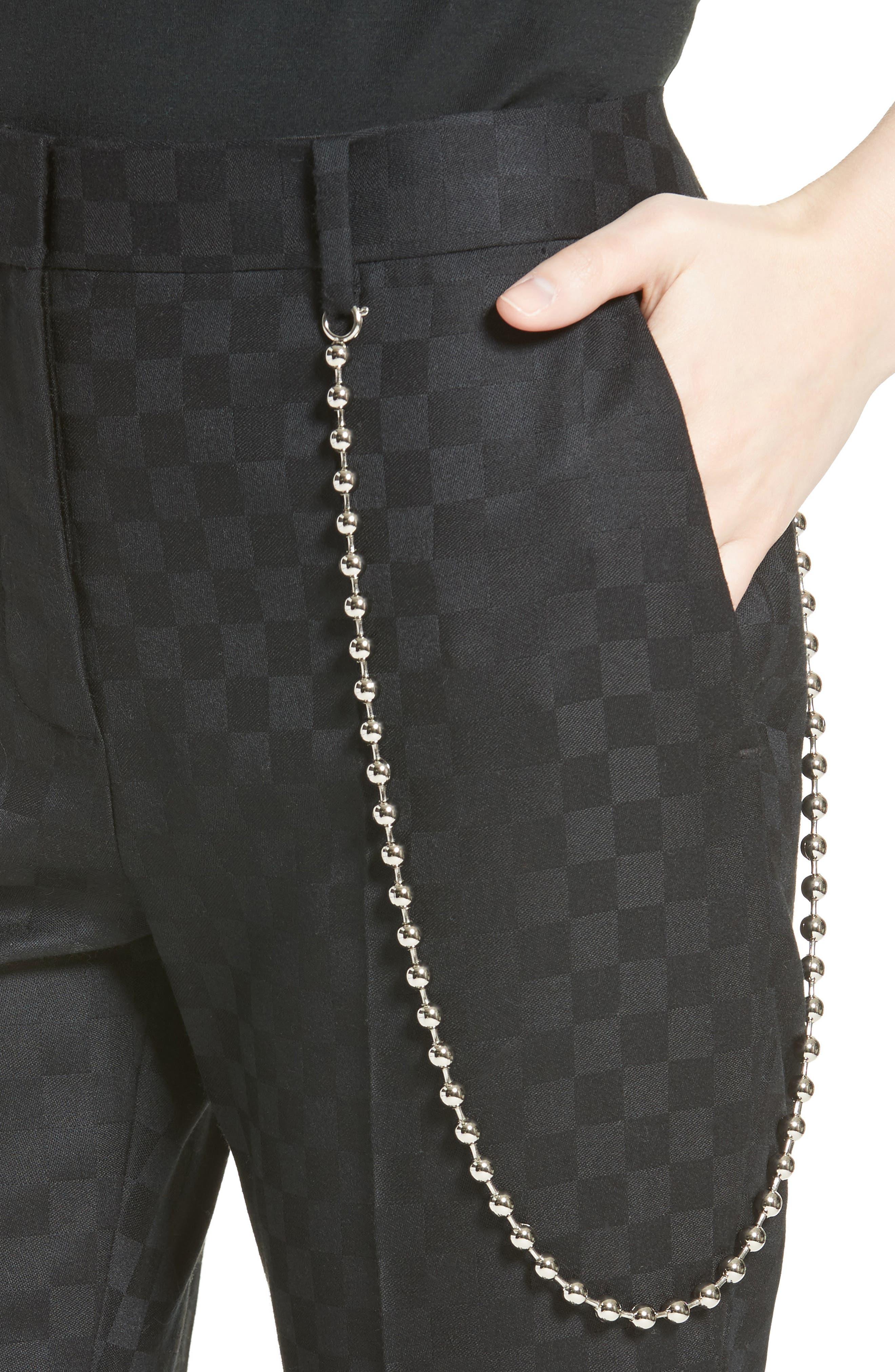 Chain Trim Checkerboard Pants,                             Alternate thumbnail 4, color,                             001