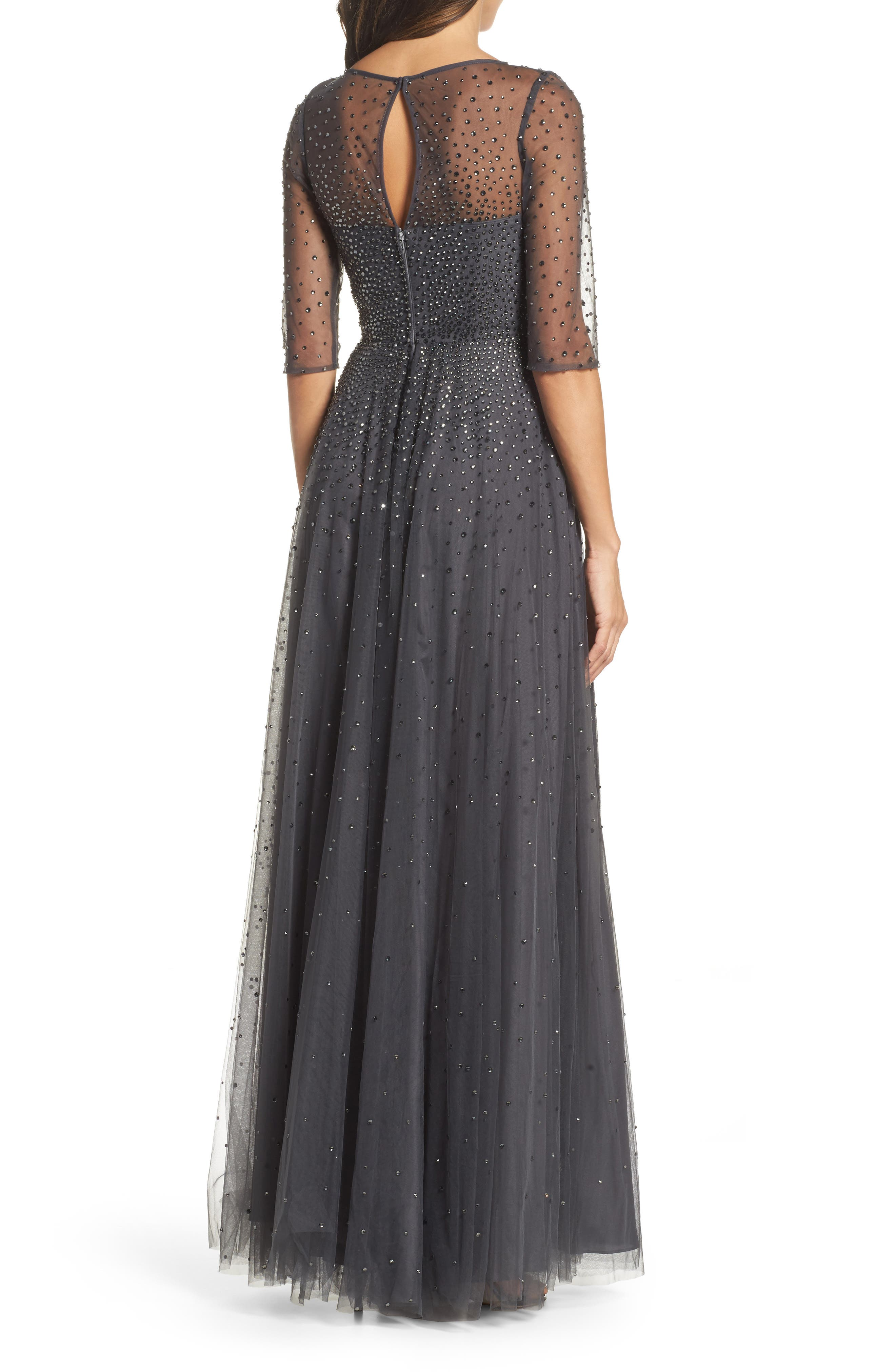 Waterfall Embellished Gown,                             Alternate thumbnail 2, color,                             GUNMETAL
