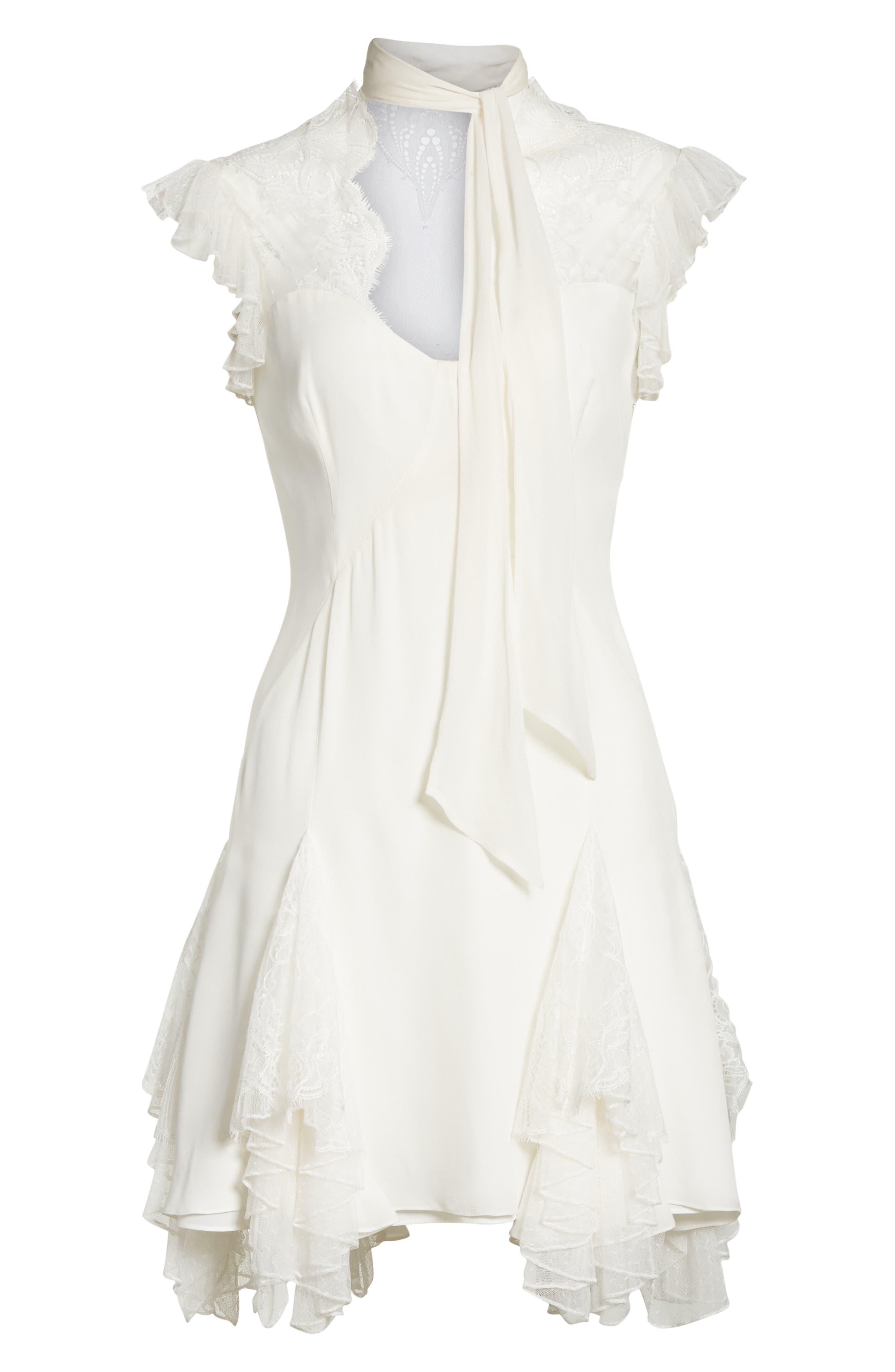 Clotilde Lace Trim Silk Dress with Scarf,                             Alternate thumbnail 6, color,                             902