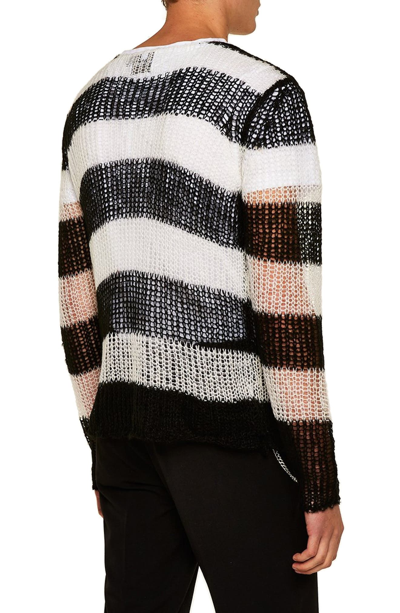 Stripe Classic Fit Sweater,                             Alternate thumbnail 2, color,                             001