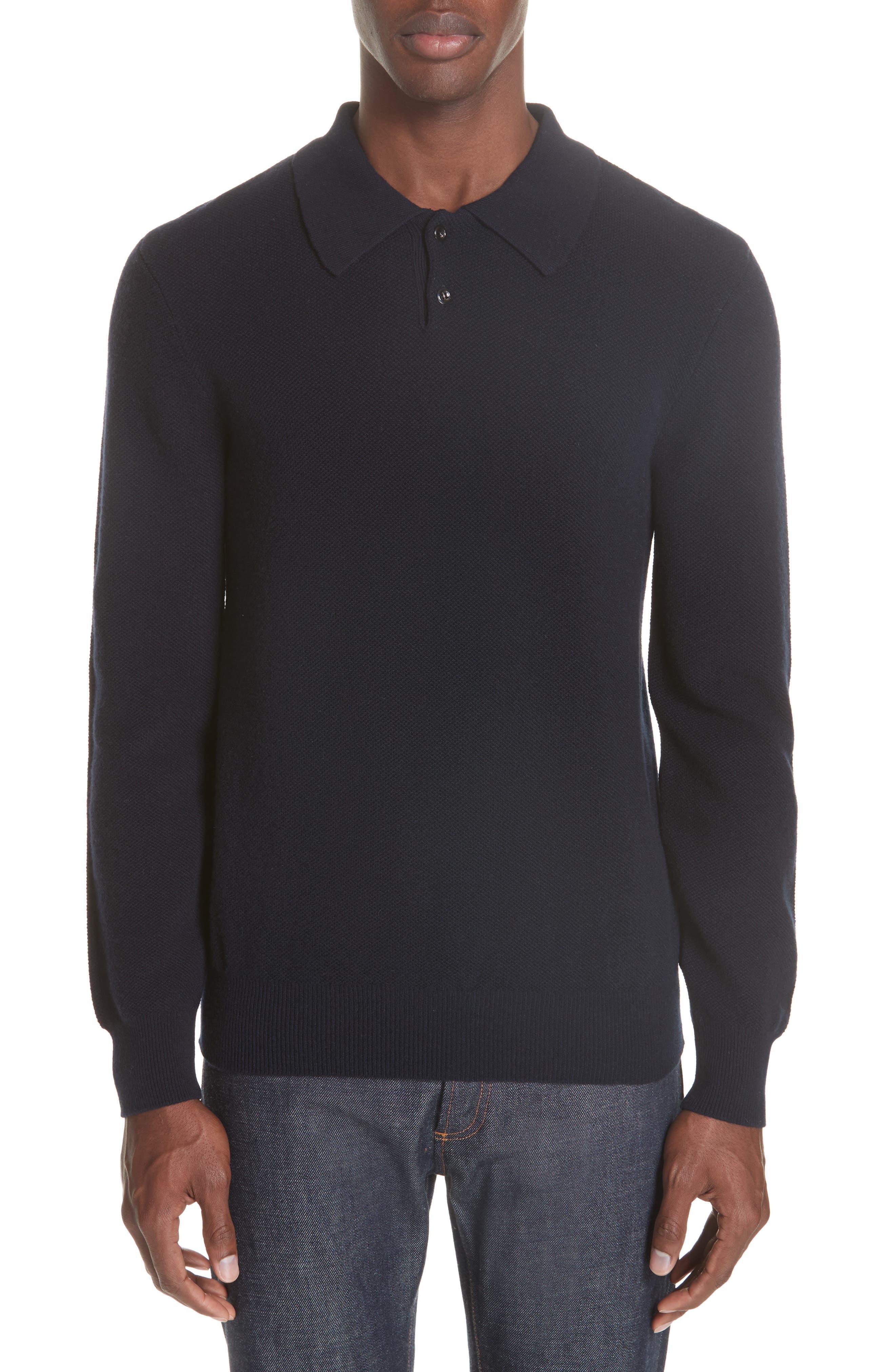 Wool & Cashmere Long Sleeve Polo,                         Main,                         color, IAK NAVY