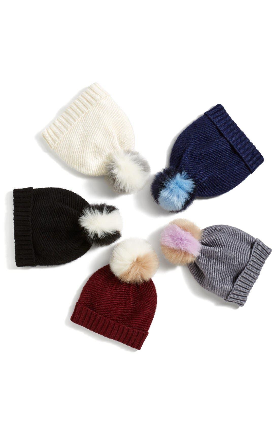 Faux Fur Pompom Knit Beanie,                             Alternate thumbnail 2, color,                             020
