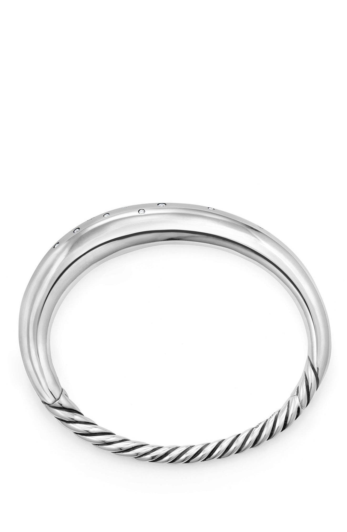 Pure Form Smooth Bracelet with Diamonds, 9.5mm,                             Alternate thumbnail 2, color,                             SILVER