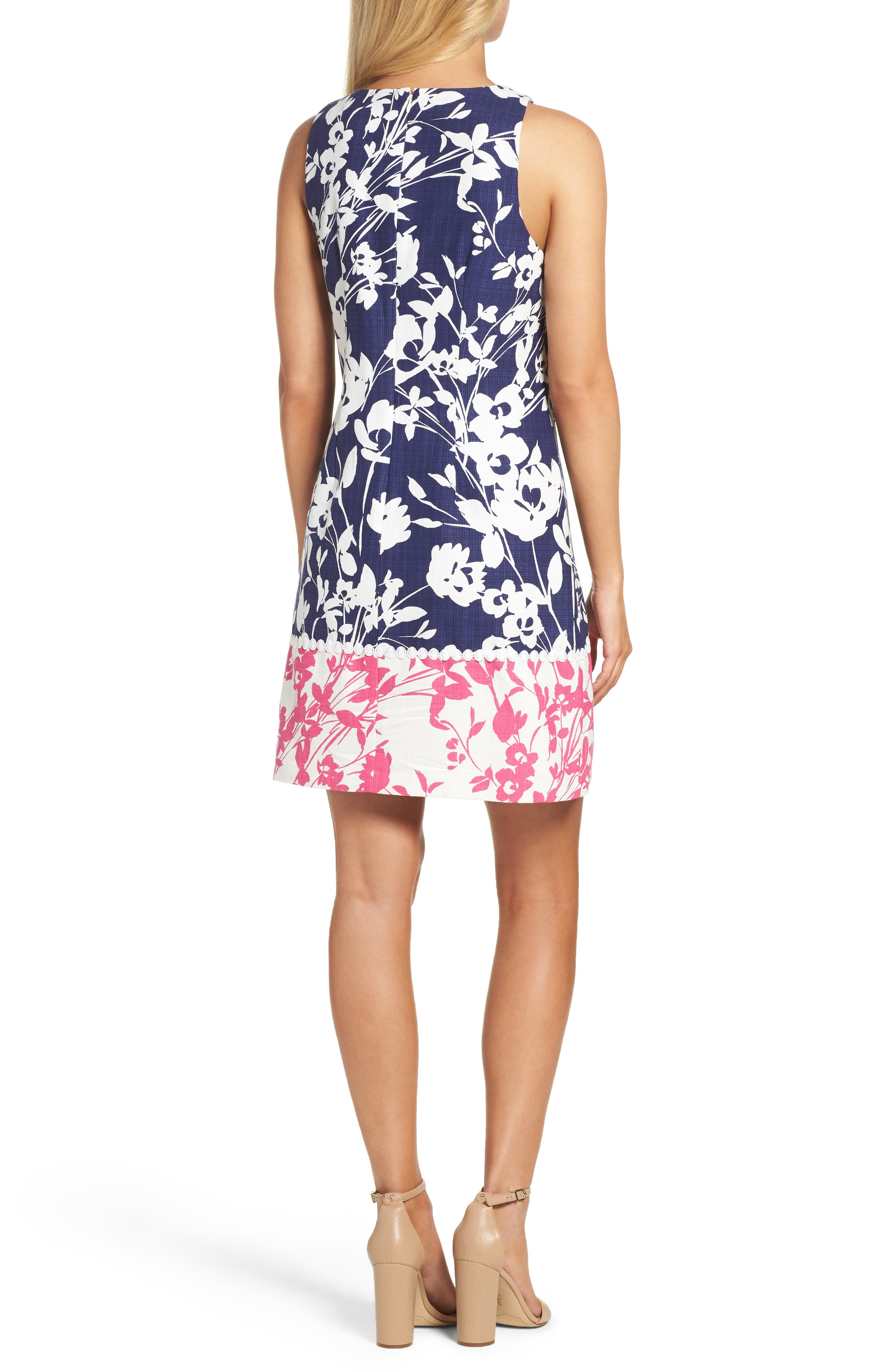 Stretch Cotton A-Line Dress,                             Alternate thumbnail 2, color,                             NAVY/ PINK