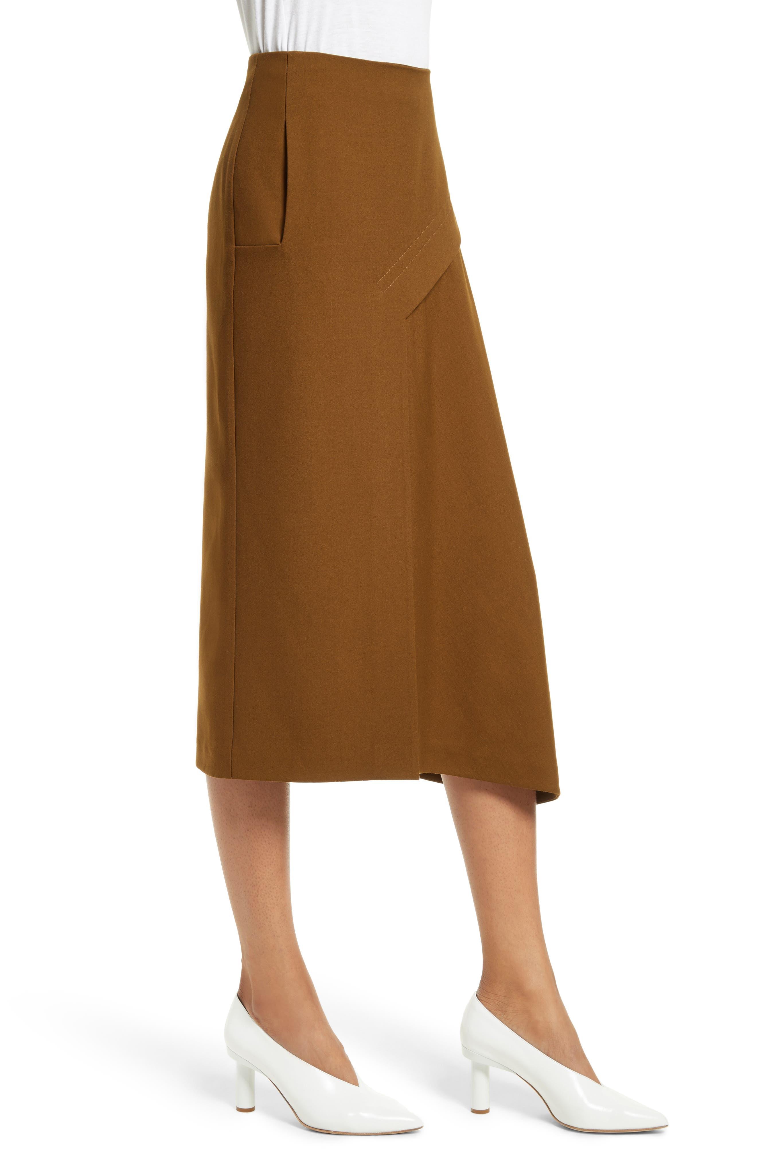Draped Twill Skirt,                             Alternate thumbnail 3, color,                             200