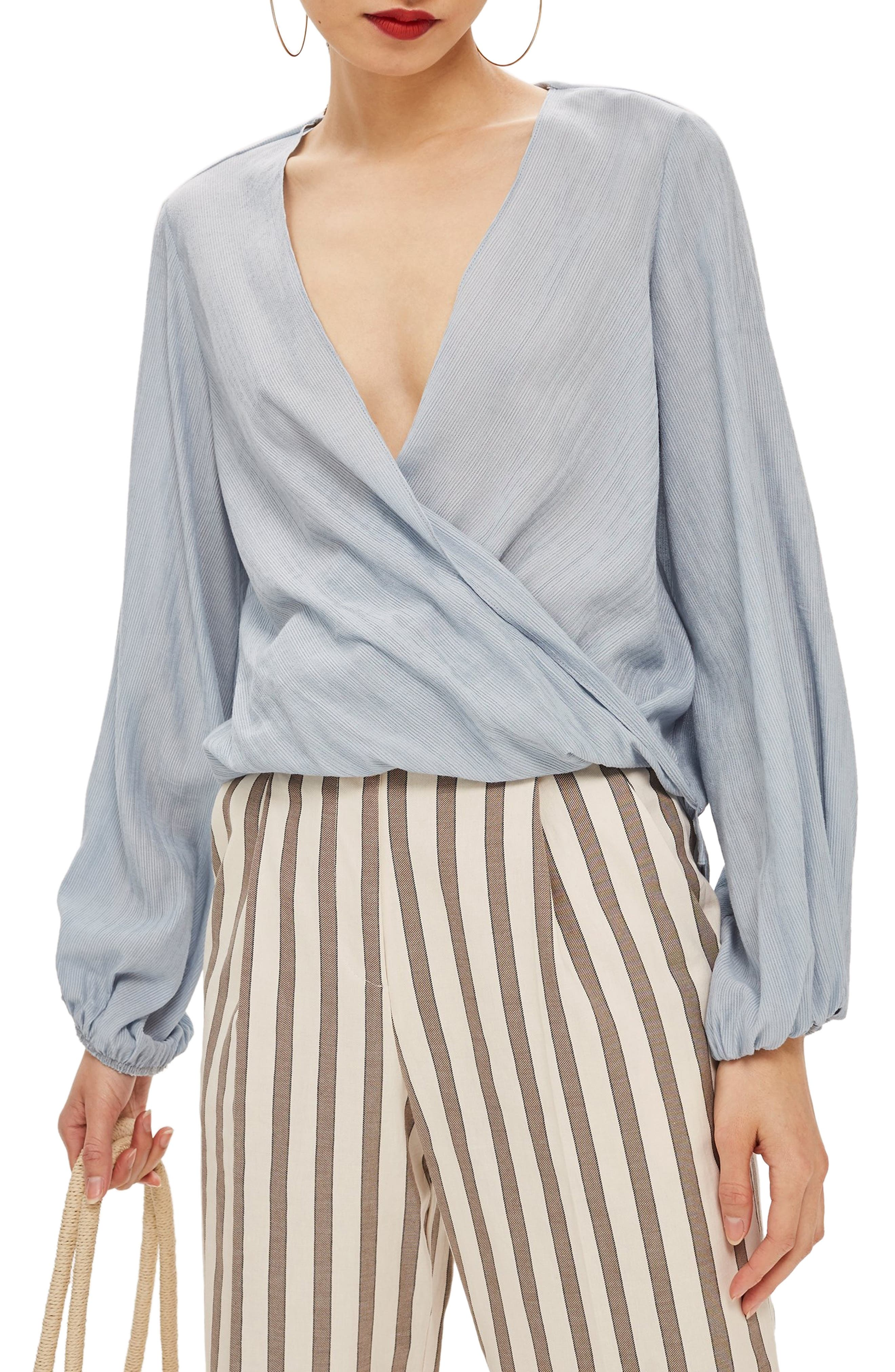 Casual Draped Top,                         Main,                         color, LIGHT GREY