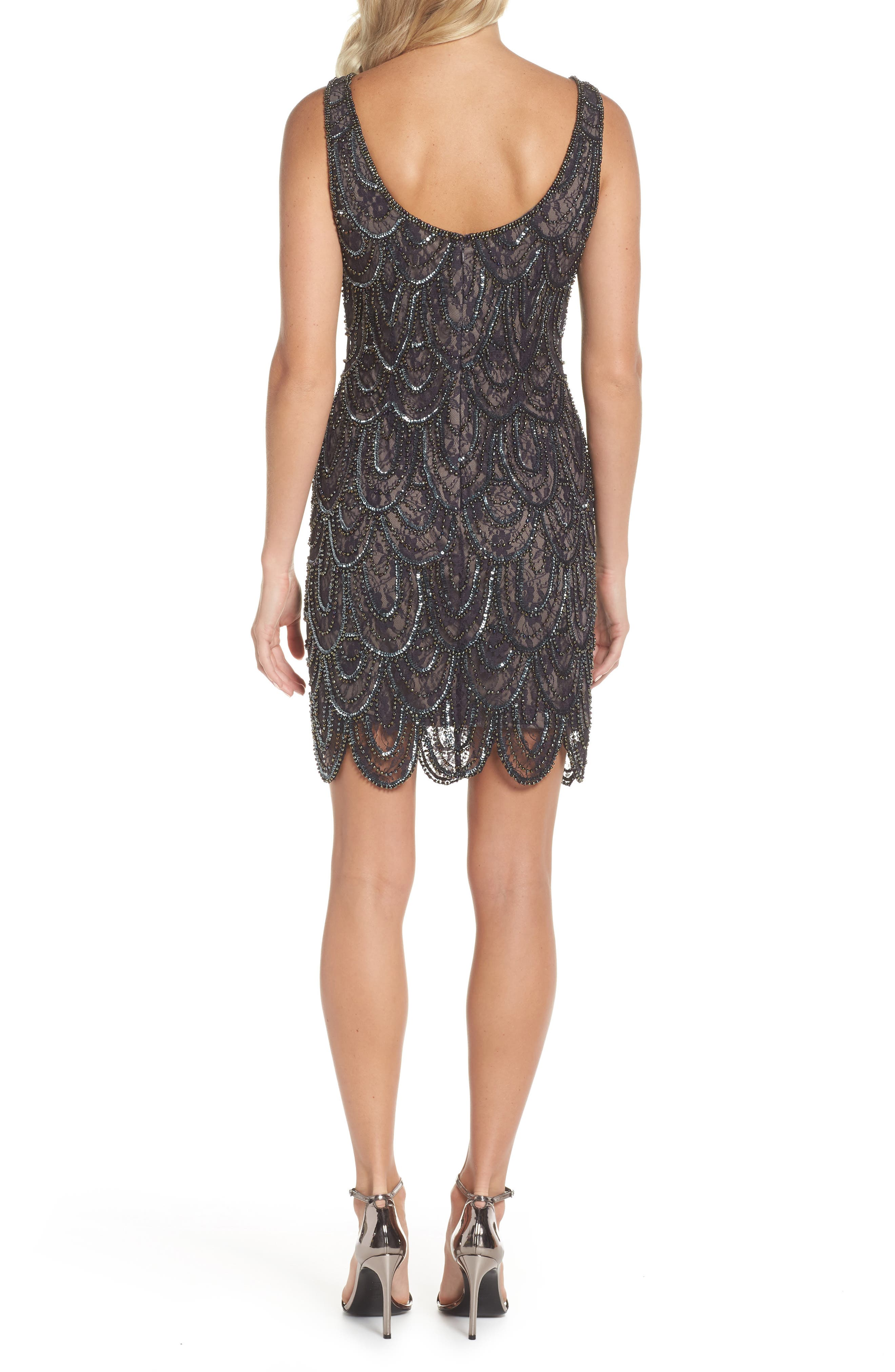 Beaded Lace Sheath Dress,                             Alternate thumbnail 2, color,                             SUEDE