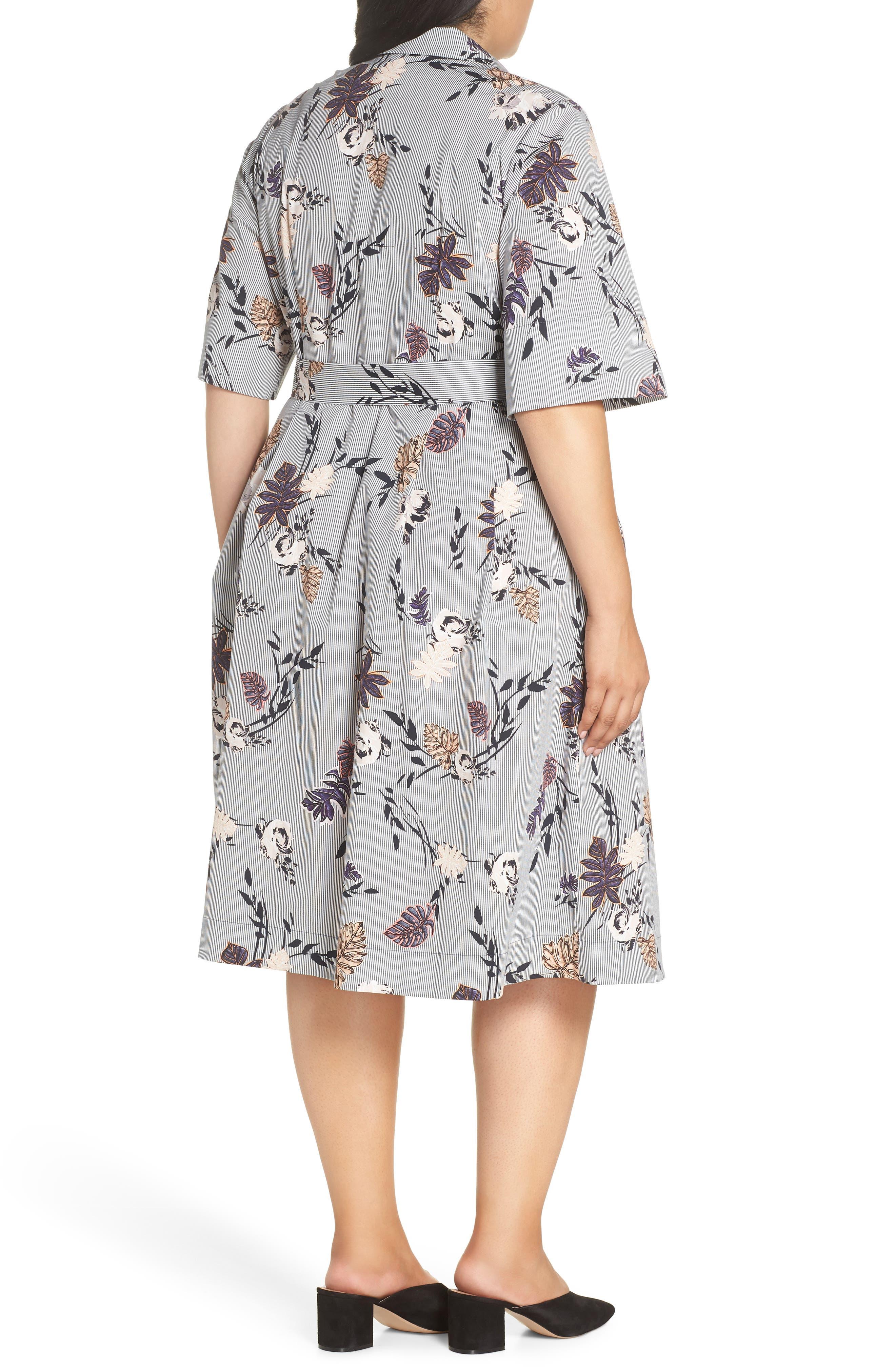 Eleni Floral Stripe Shirtdress,                             Alternate thumbnail 2, color,                             INK MULTI