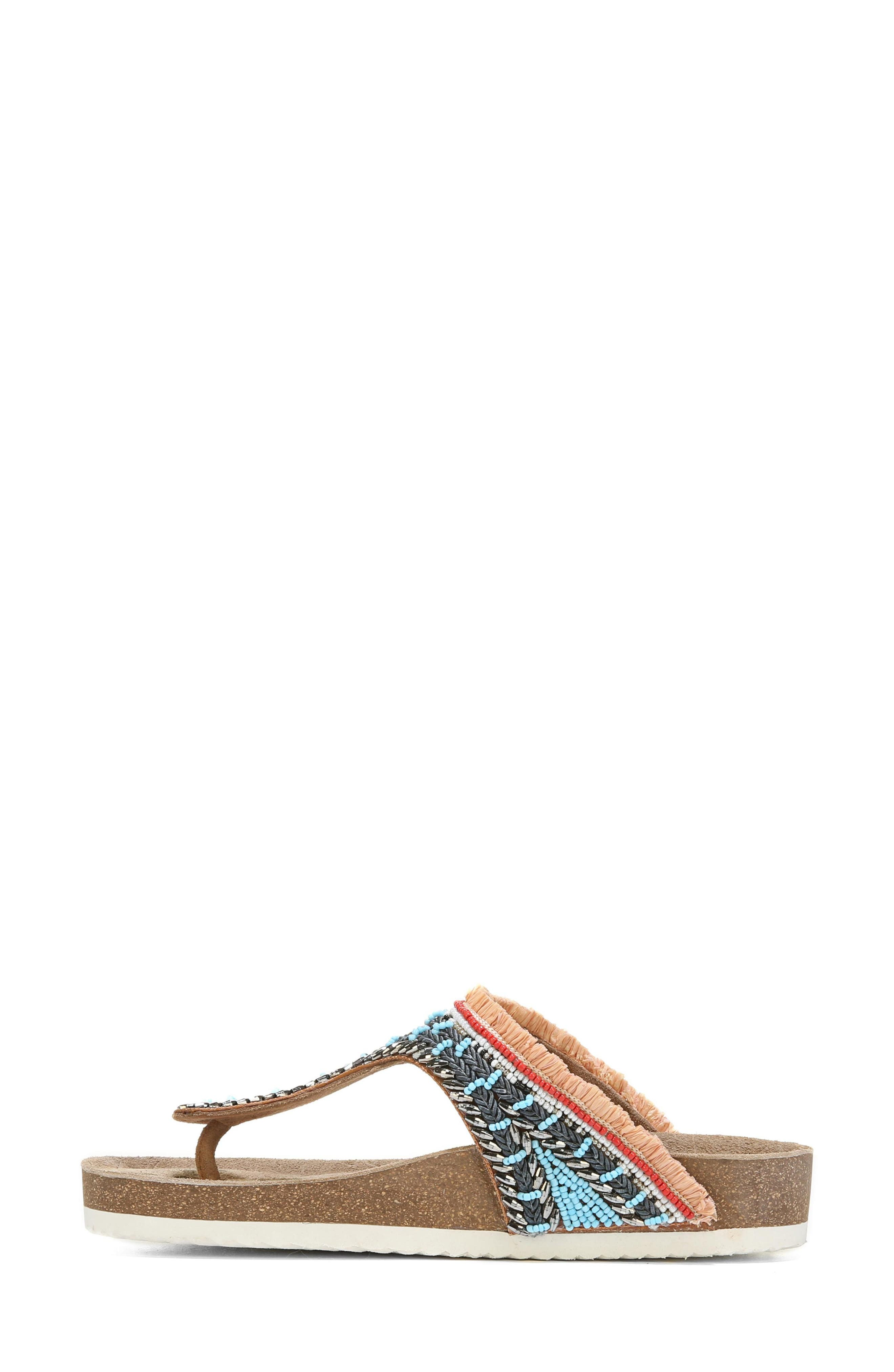 Olivie Beaded Flip Flop,                             Alternate thumbnail 3, color,                             SADDLE/ BLUE MULTI
