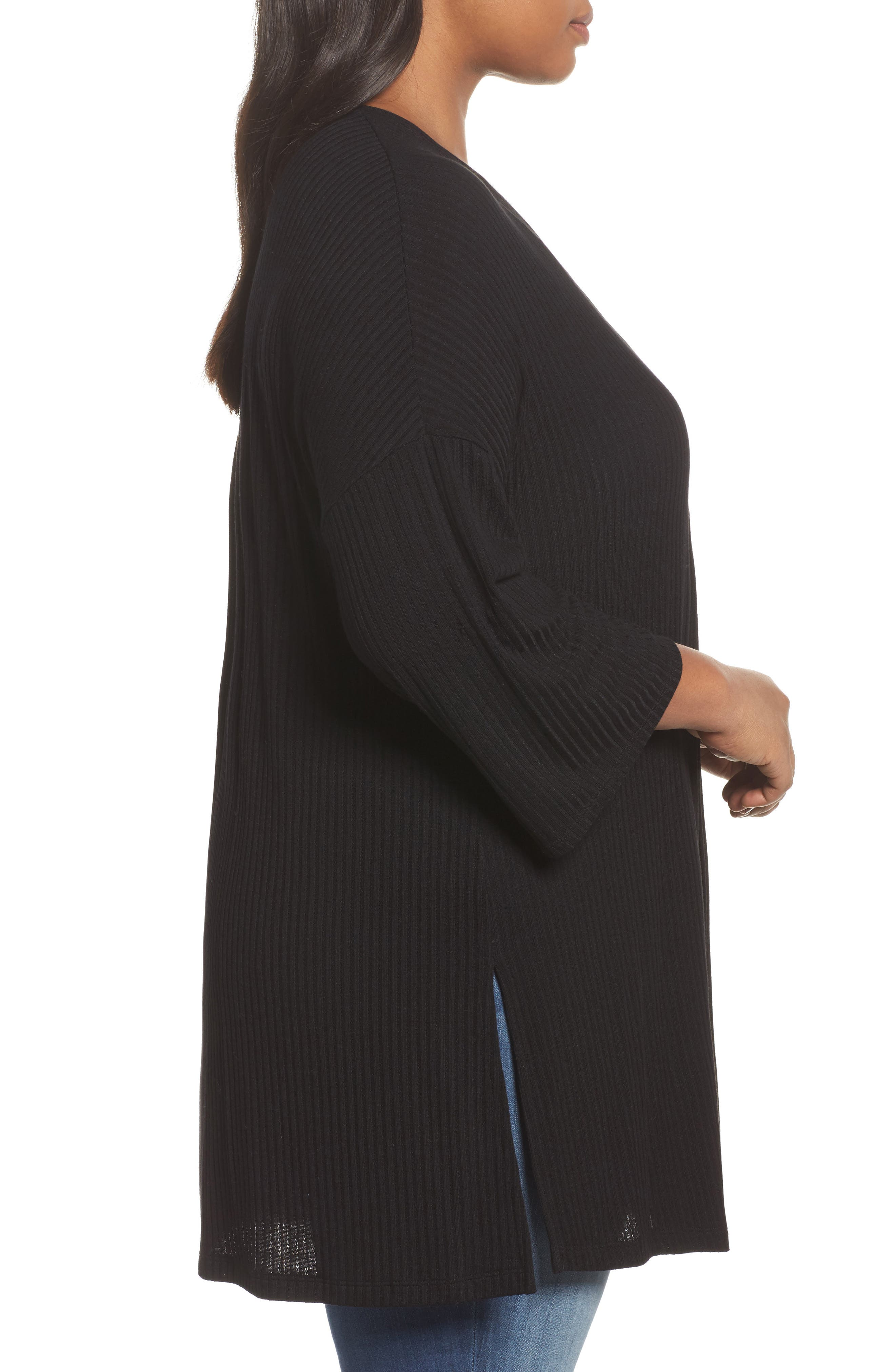 Ribbed Open-Front Cardigan,                             Alternate thumbnail 3, color,                             001