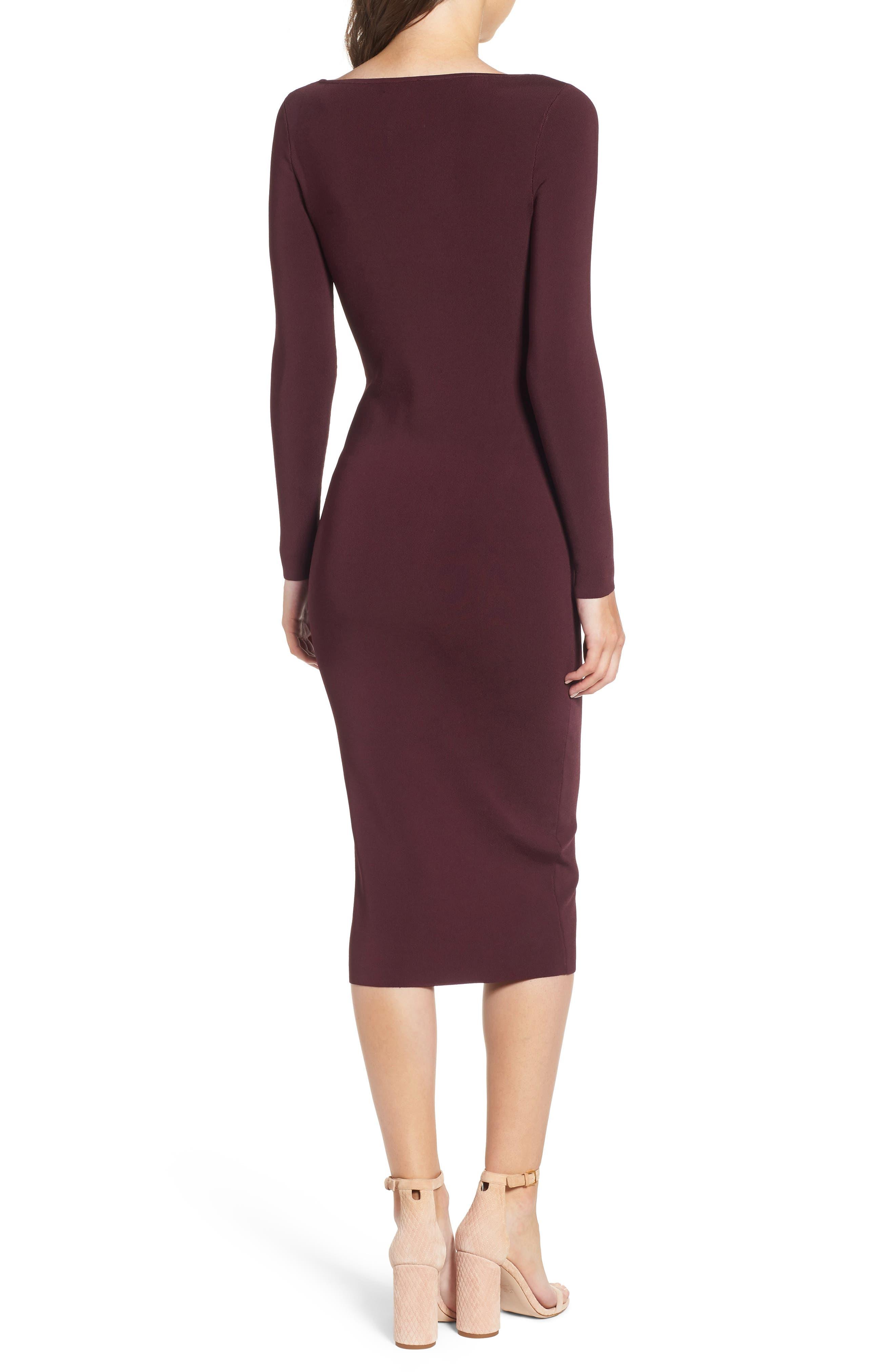 Bold Stripe Body-Con Dress,                             Alternate thumbnail 2, color,                             BURGUNDY STEM COMBO