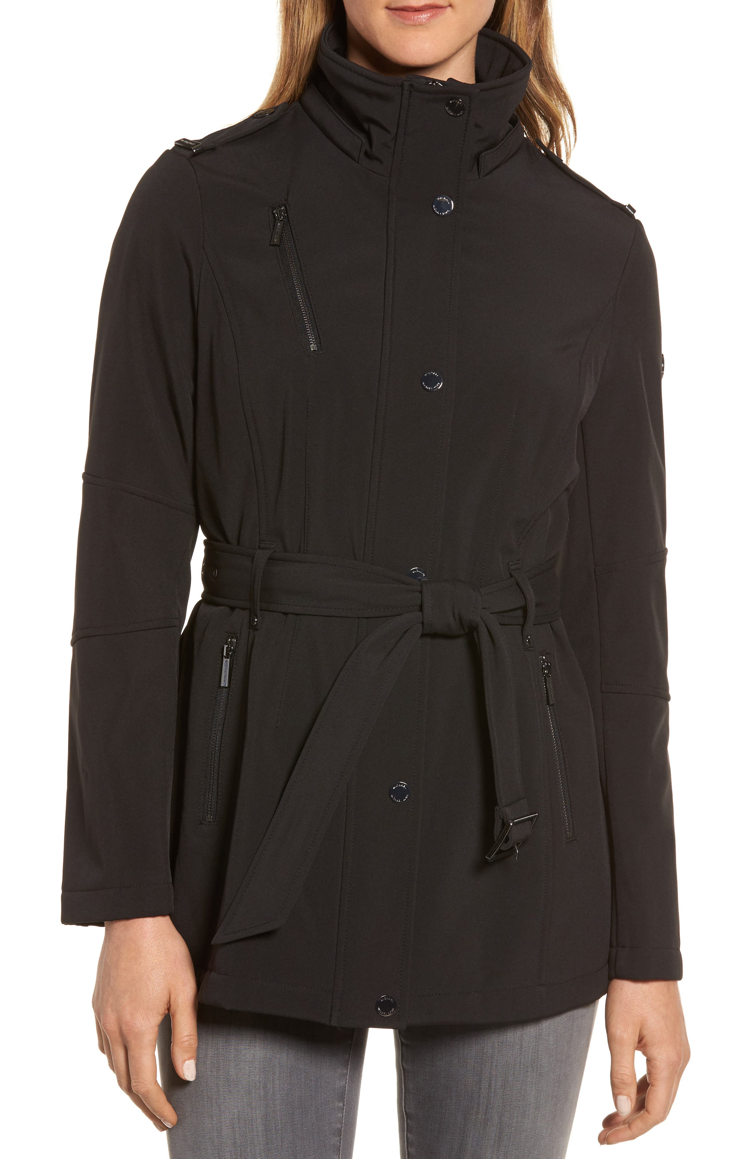 Waterproof Belted Jacket with Detachable Hood,                             Alternate thumbnail 4, color,                             001