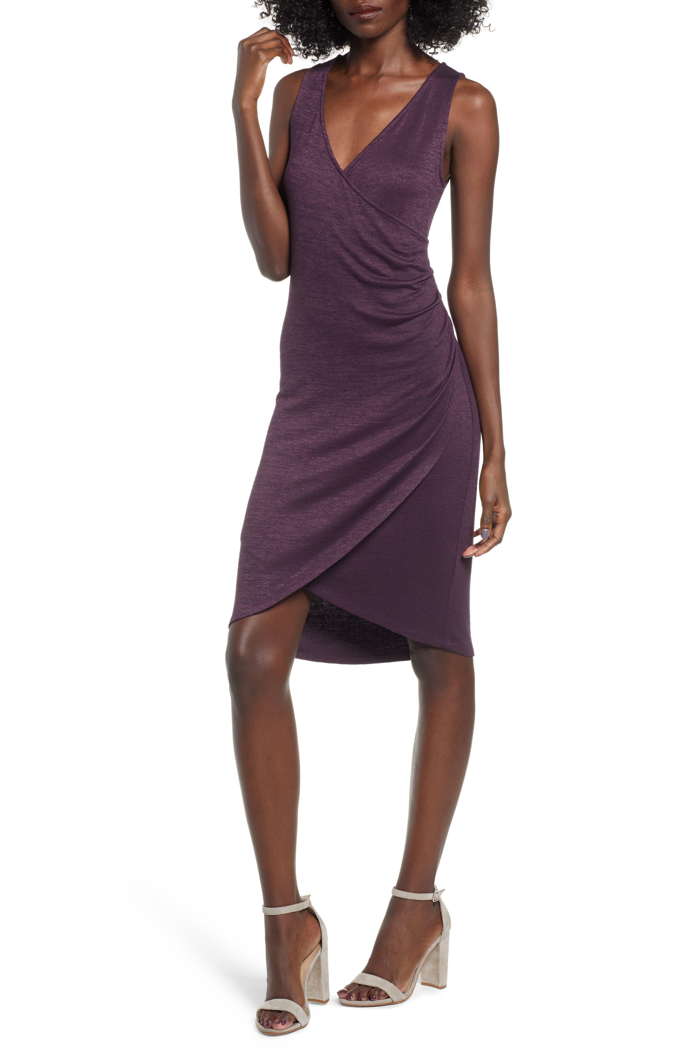 Leith Melange Wrap Dress, Purple