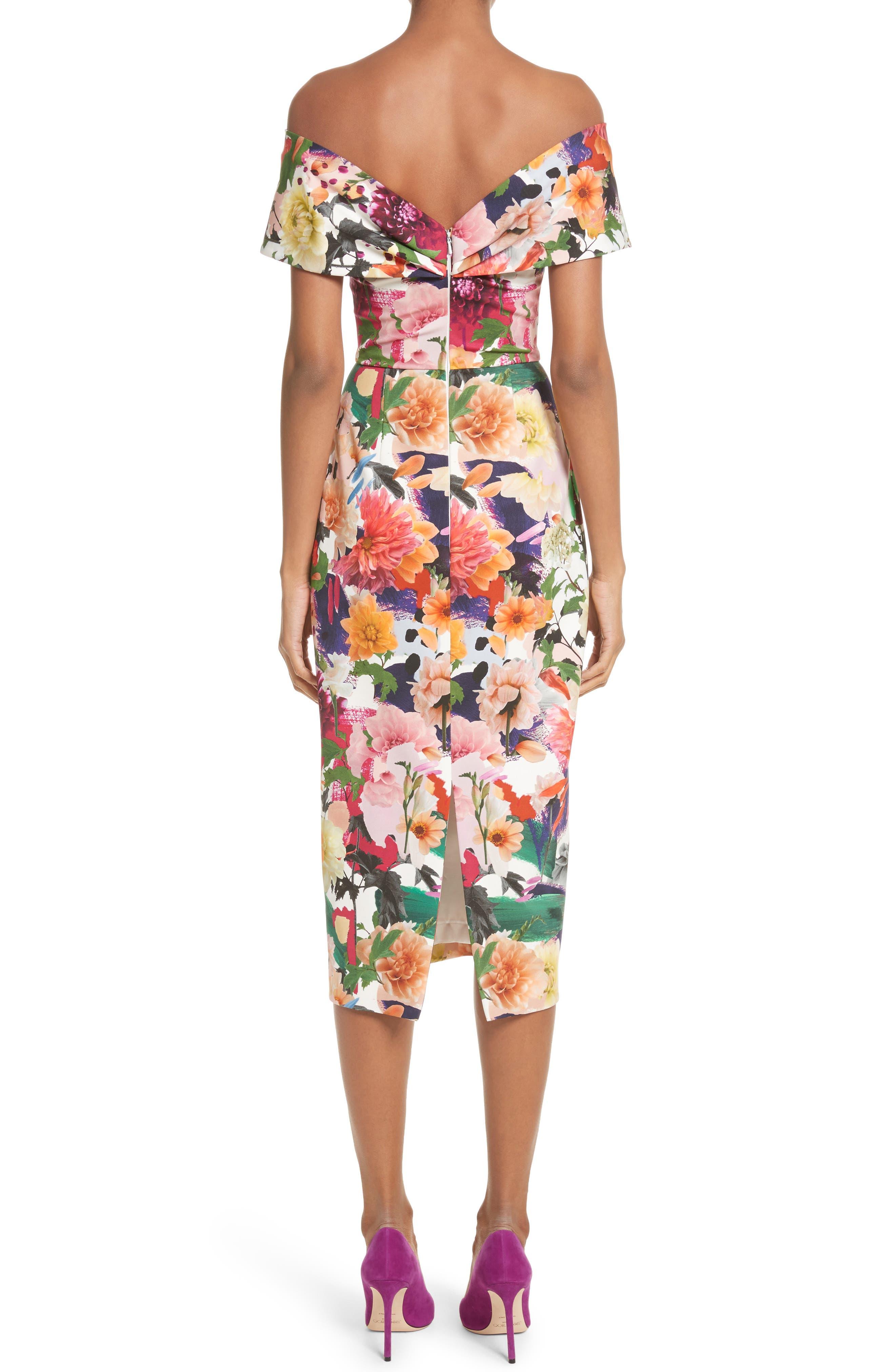 Floral Print Off the Shoulder Sheath Dress,                             Alternate thumbnail 2, color,                             191