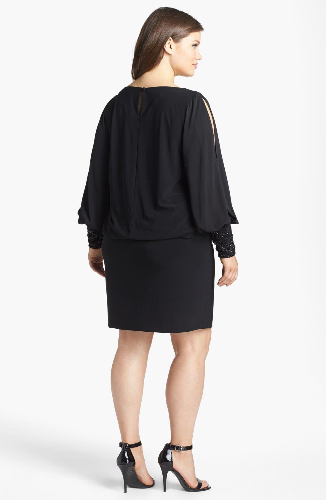 Embellished Cuff Blouson Jersey Dress,                             Alternate thumbnail 10, color,                             BLACK