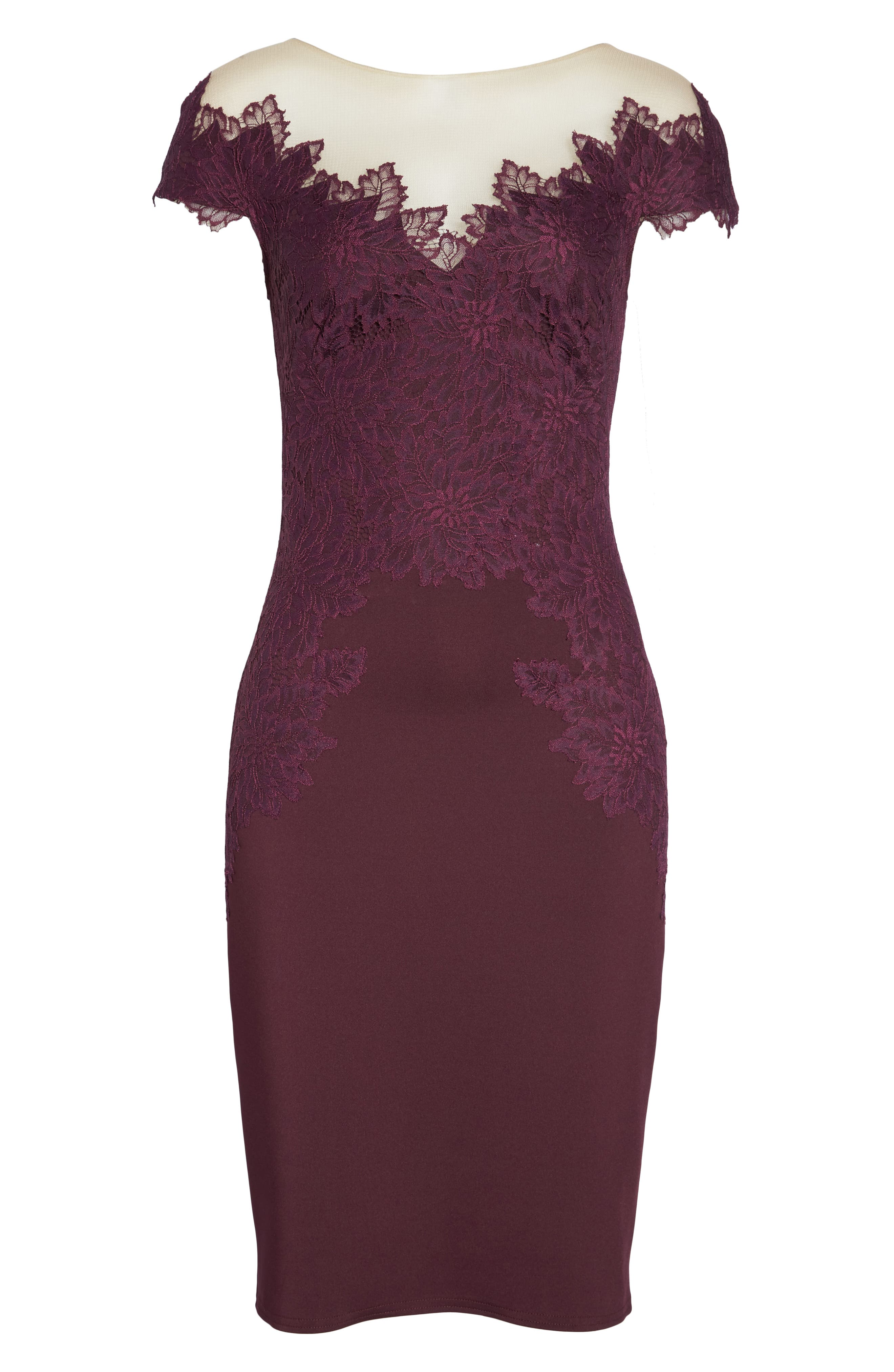 Lace Embellished Body-Con Dress,                             Alternate thumbnail 6, color,                             510