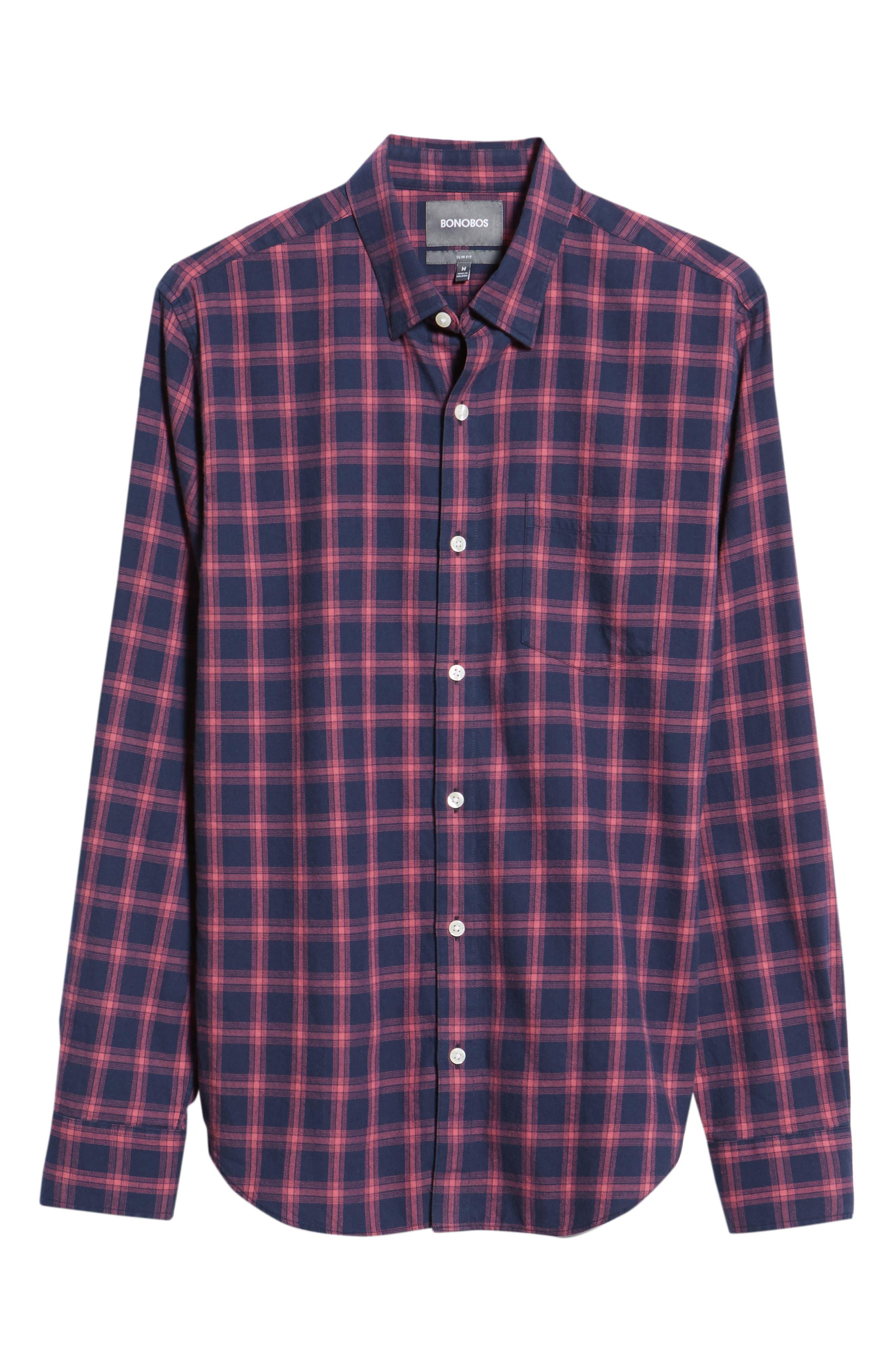 Slim Fit Brushed Twill Sport Shirt,                             Alternate thumbnail 5, color,                             ELLIS CHECK - MALAGA