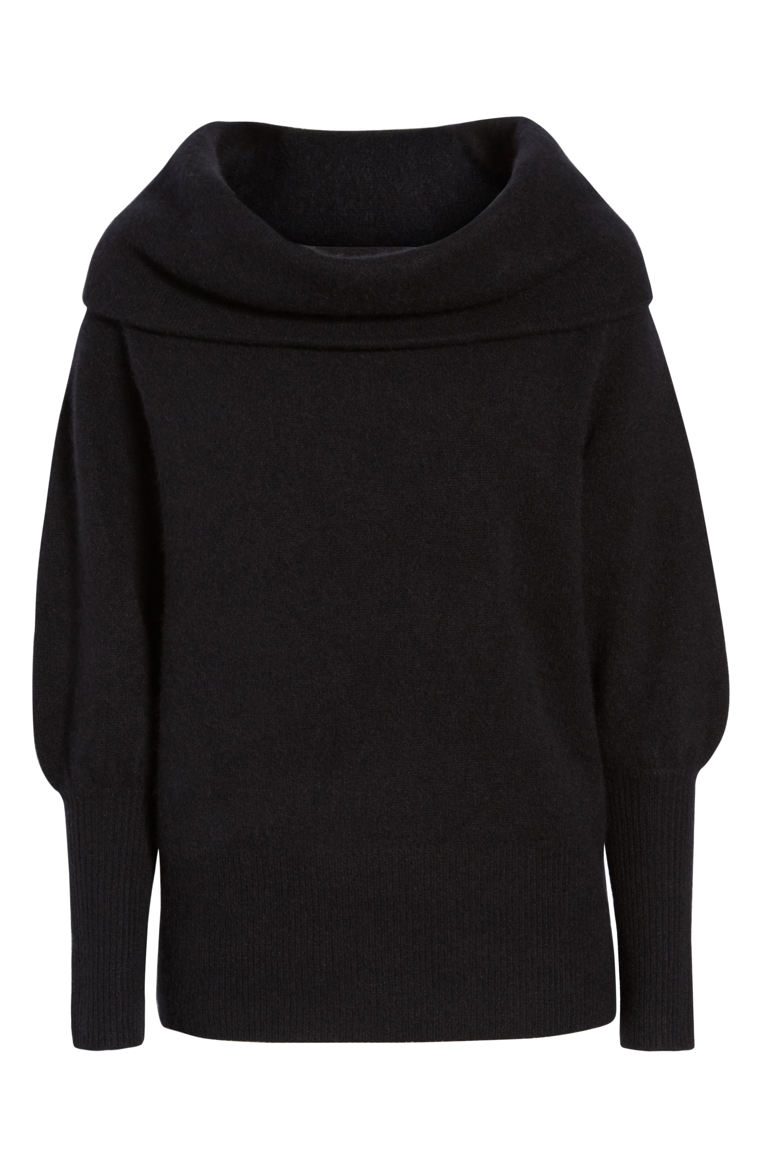 Convertible Neck Cashmere Sweater,                             Alternate thumbnail 6, color,                             001