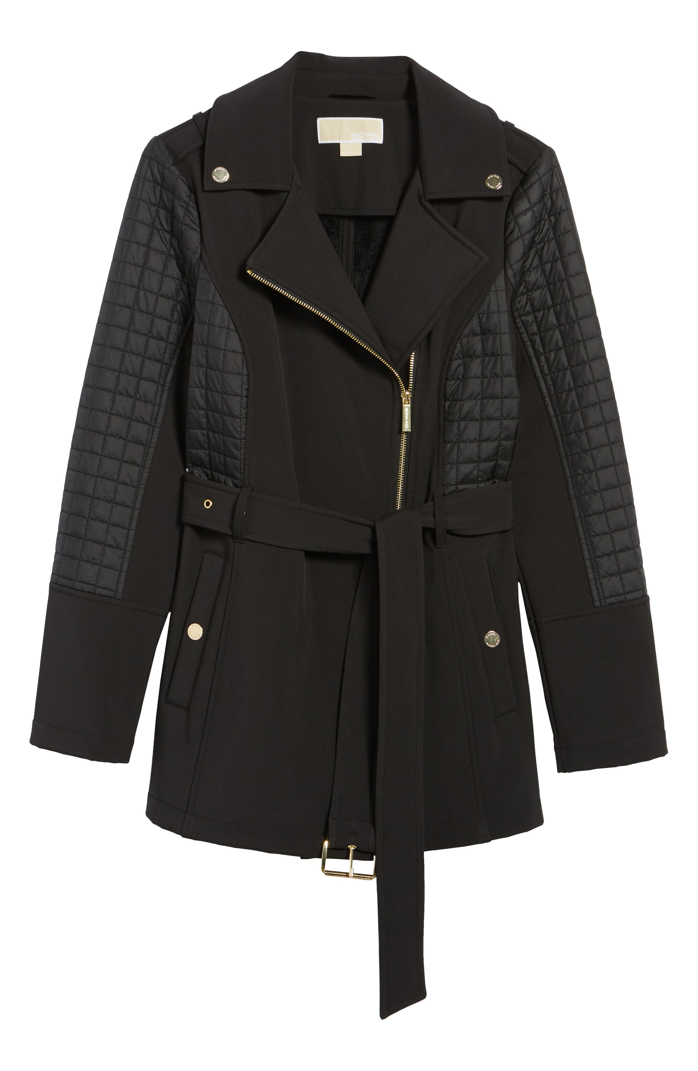 Asymmetrical Zip Coat,                             Alternate thumbnail 5, color,                             001