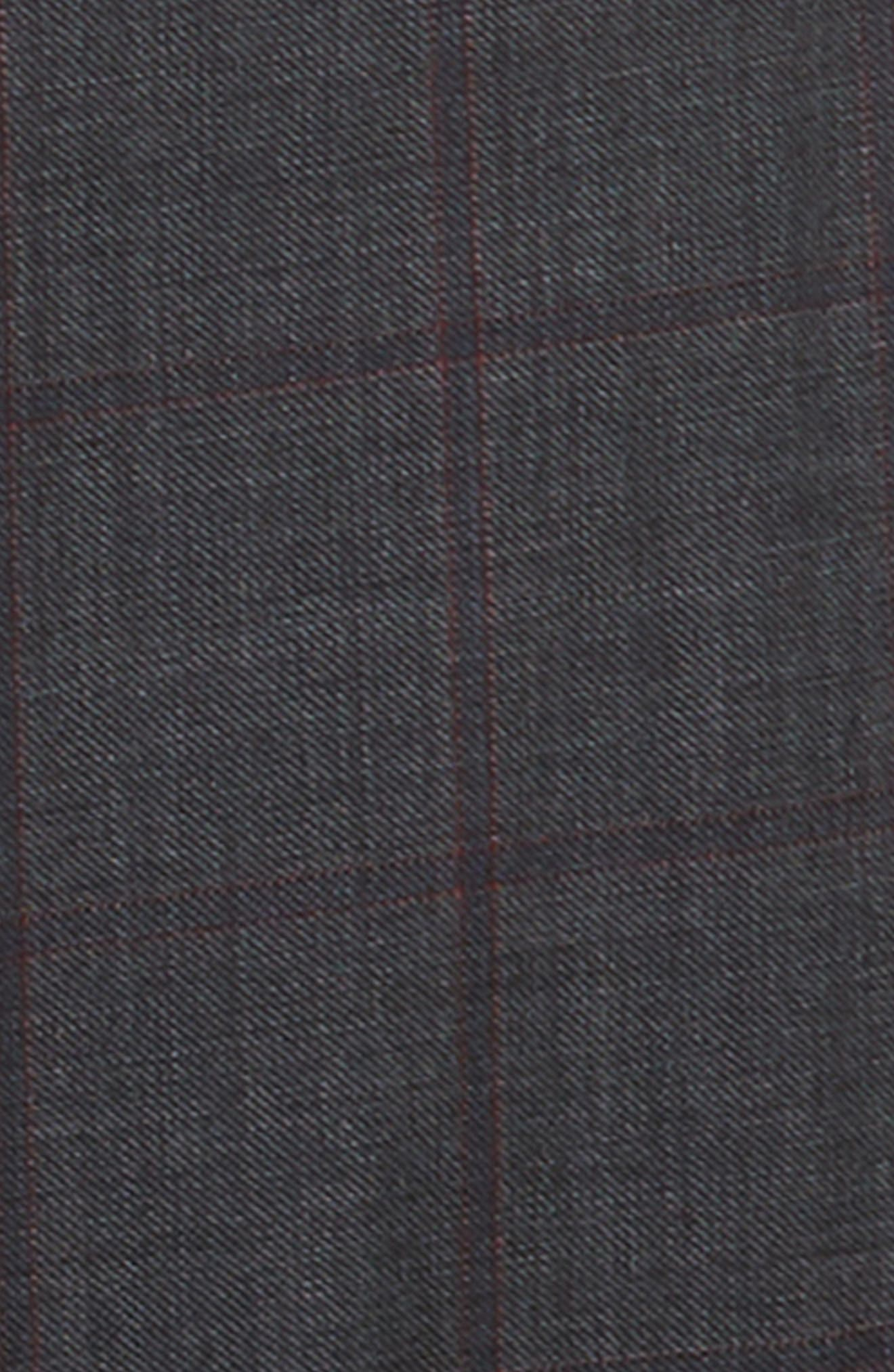 Windowpane Check Wool Suit,                             Alternate thumbnail 2, color,                             CHARCOAL/ RED