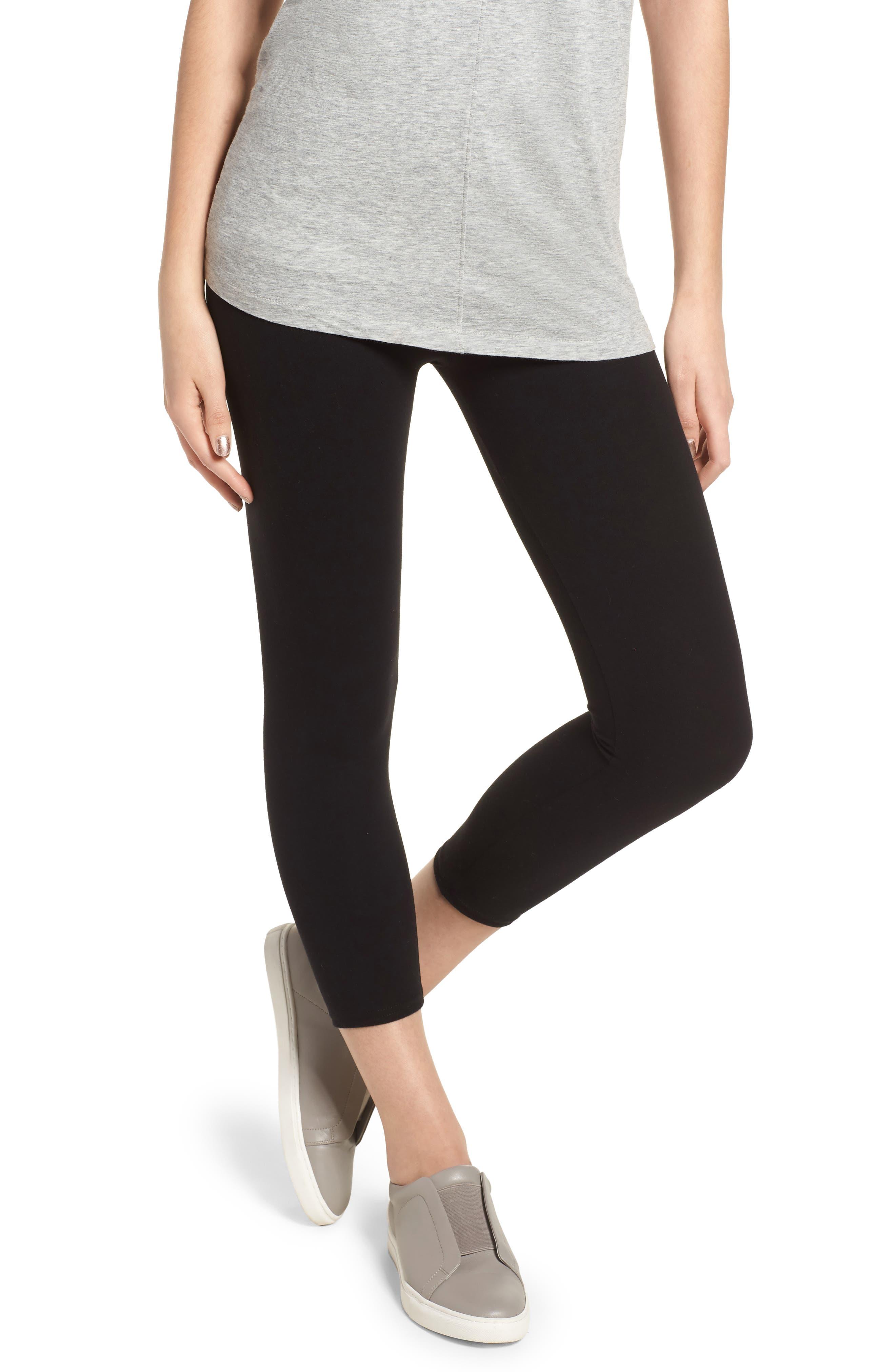 High Waist Crop Leggings,                         Main,                         color, BLACK
