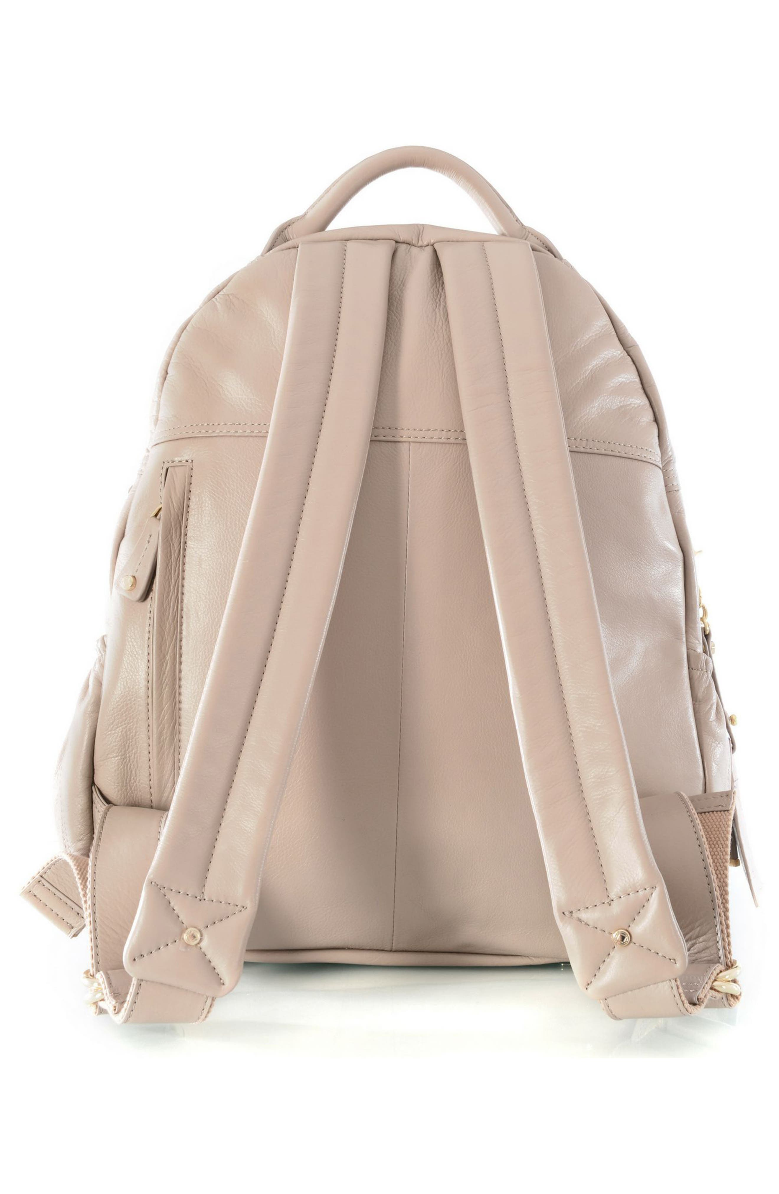 Joy Studded Diaper Backpack,                             Alternate thumbnail 2, color,                             TAUPE WITH GOLD HARWARE