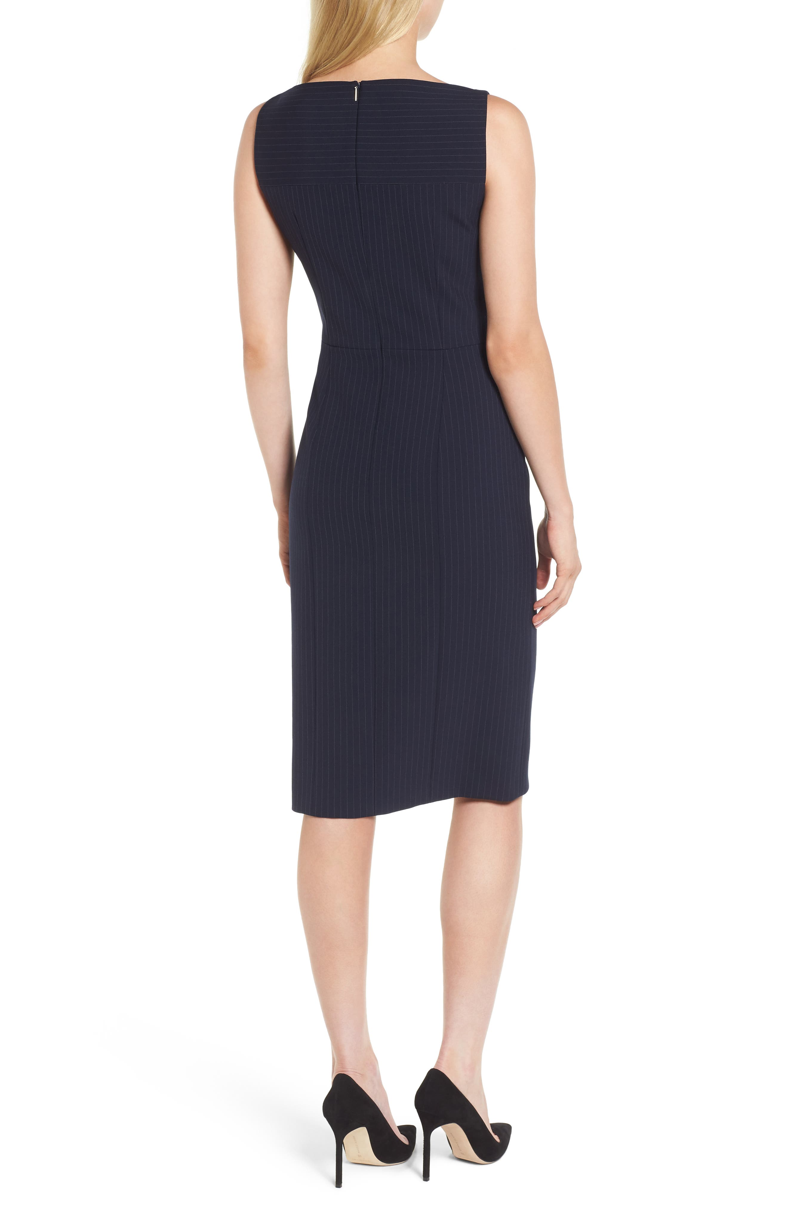 Denaka Pinstripe Sheath Dress,                             Alternate thumbnail 2, color,                             462