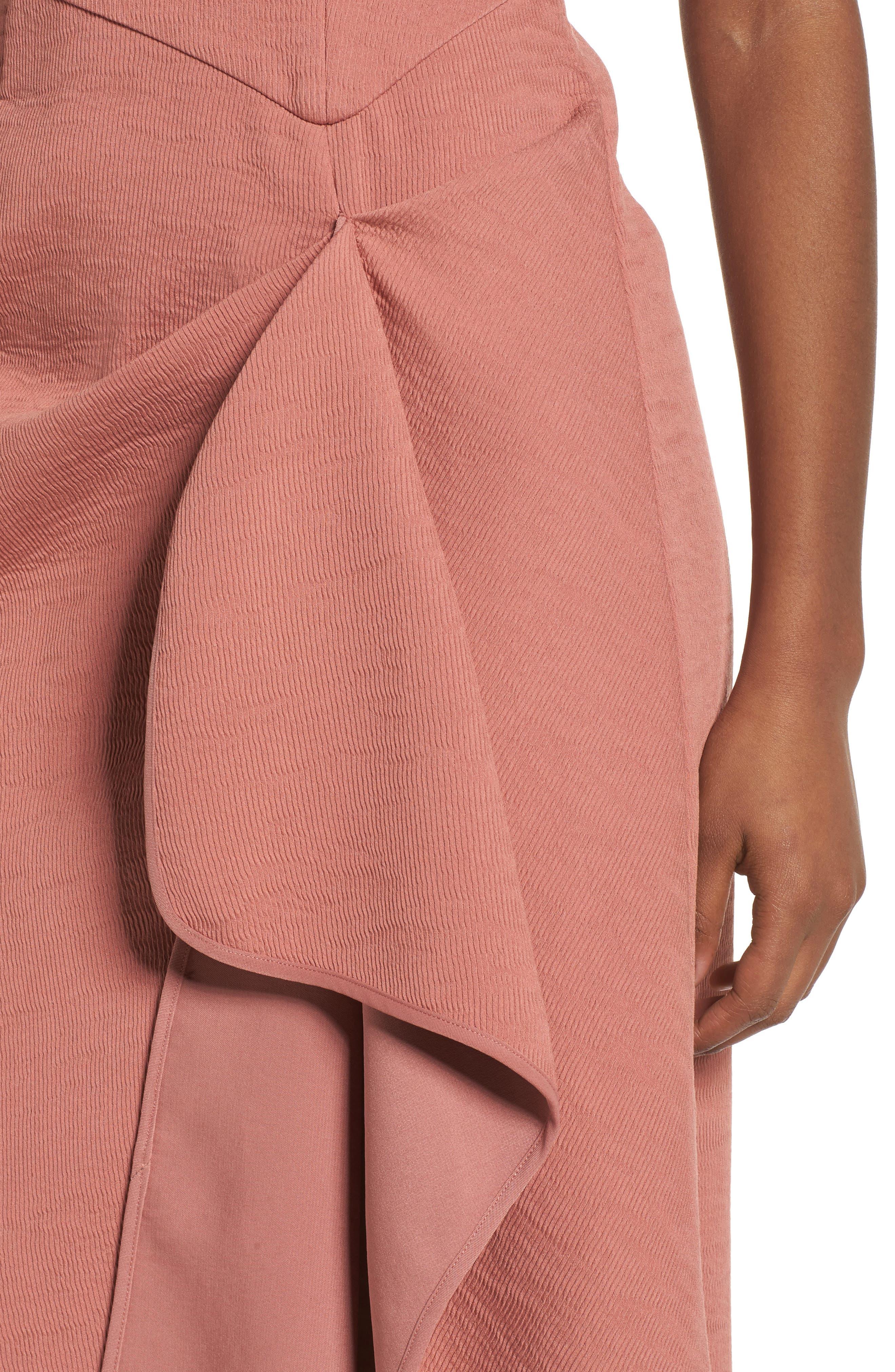 Fluidity Draped Midi Dress,                             Alternate thumbnail 4, color,