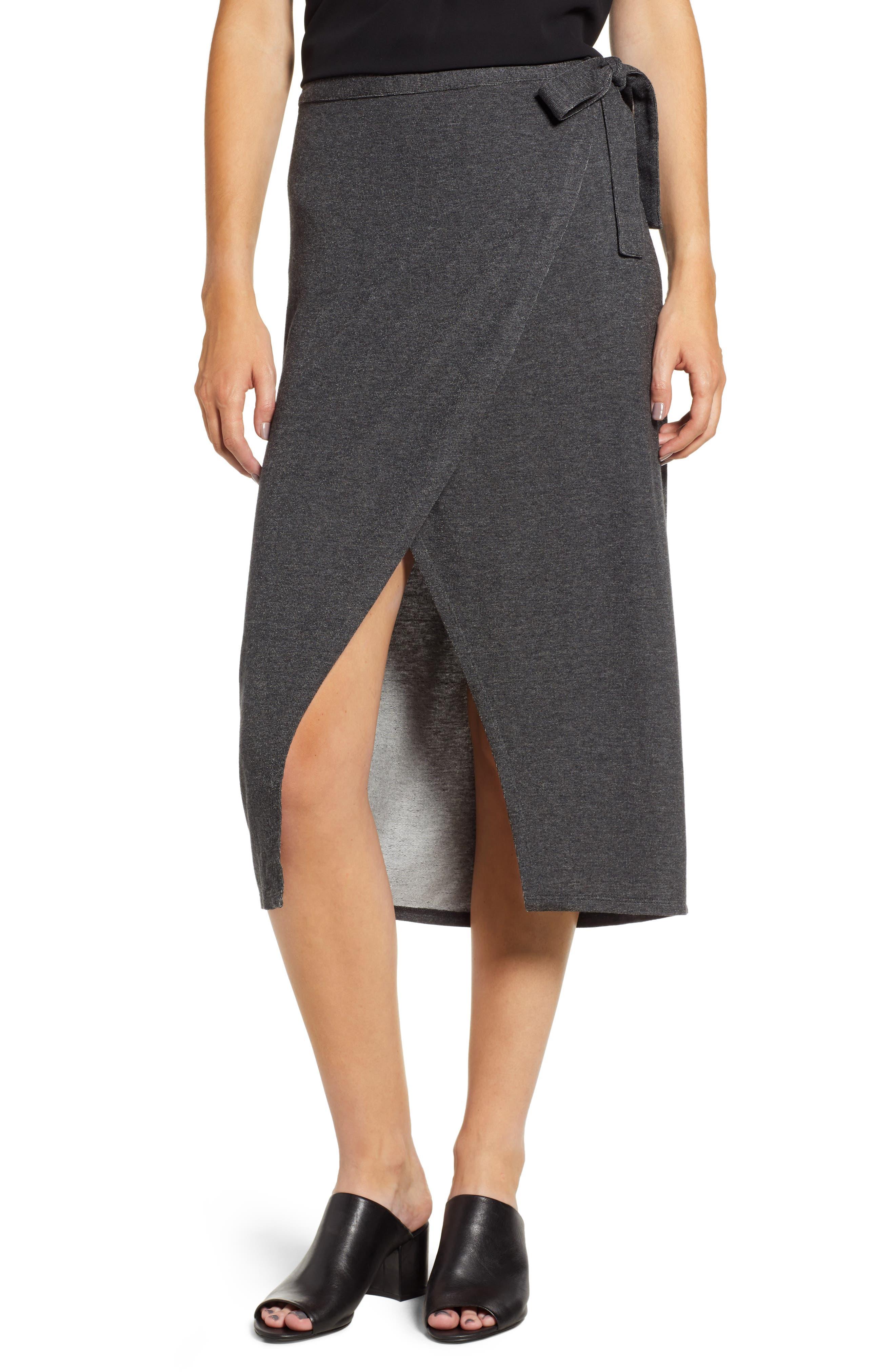 Press Wrap Skirt, Grey