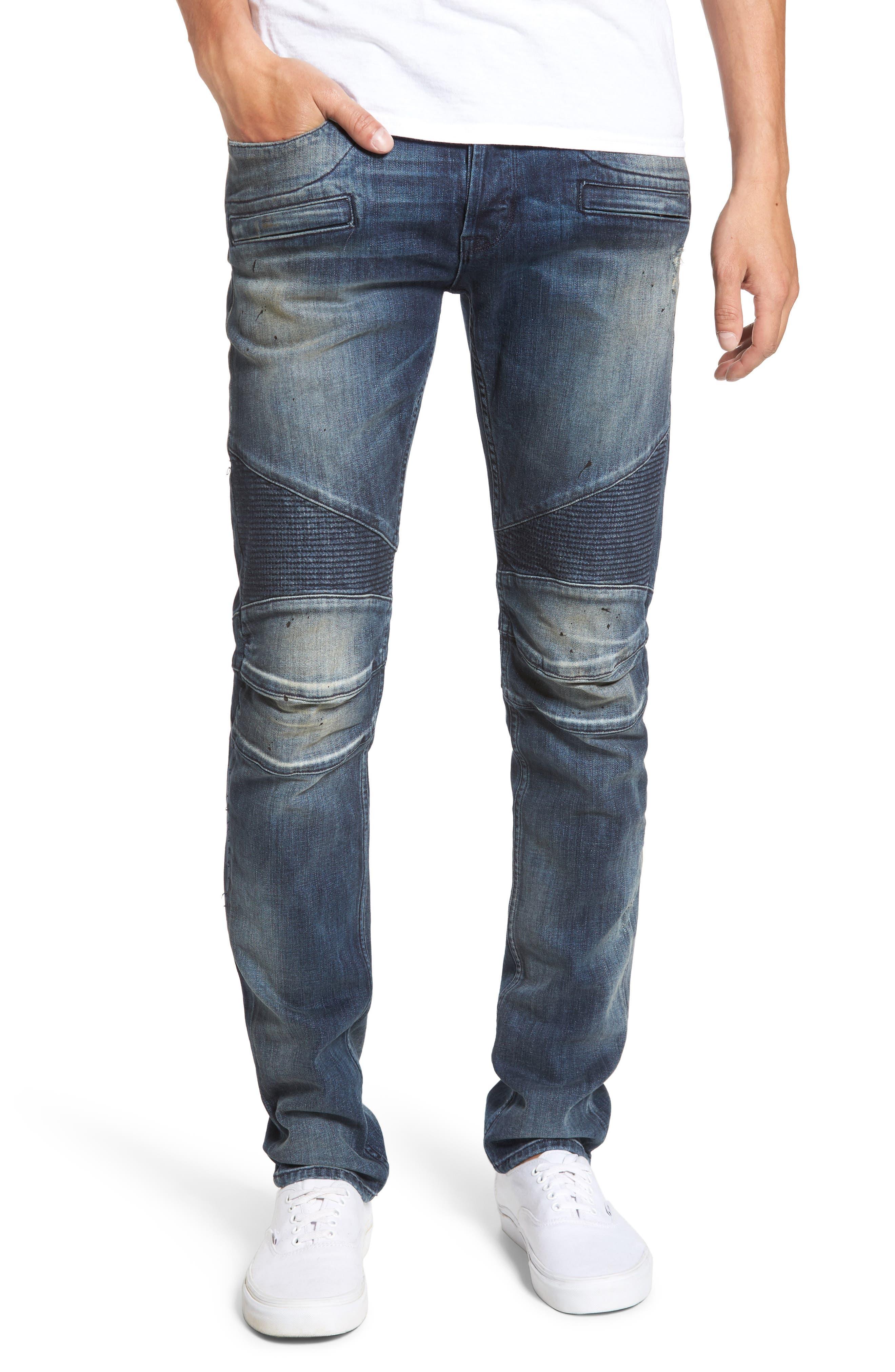 Blinder Biker Moto Skinny Fit Jeans,                             Main thumbnail 1, color,                             425